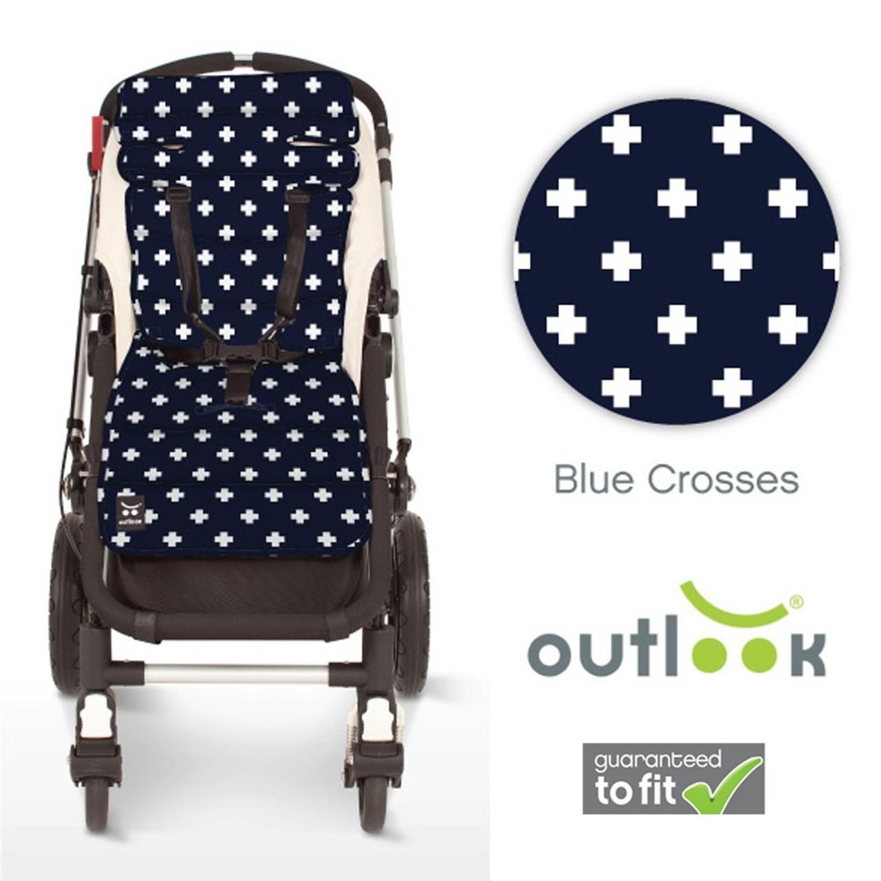Outlook Pram Liner - NAVY BLUE CROSS