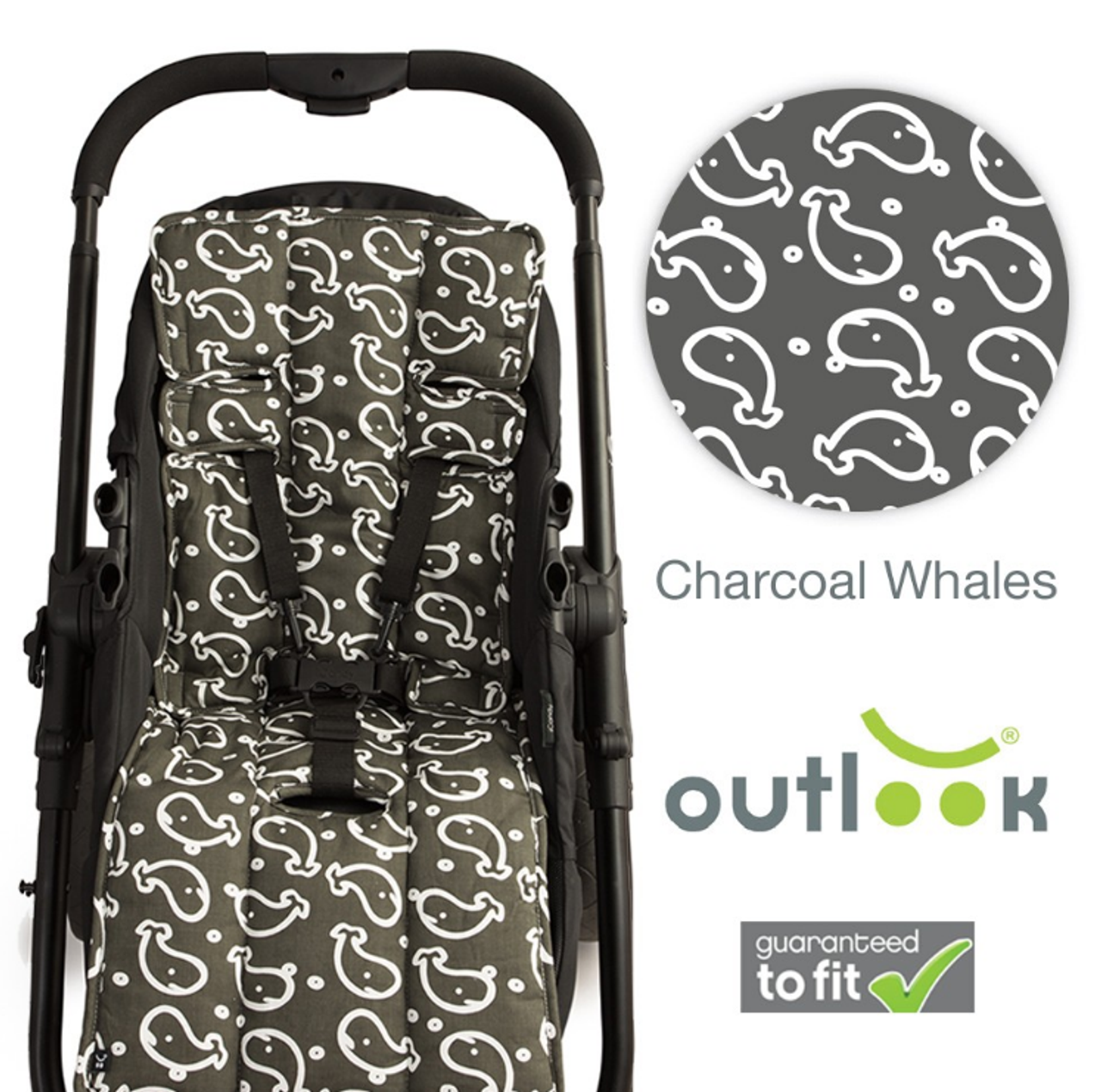Outlook Pram Liner - CHARCOAL WHALES