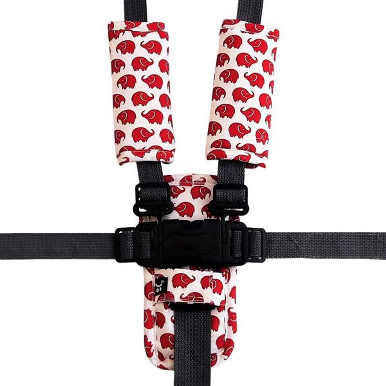 Outlook Pram Harness Cover Set - RED ELEPHANTS