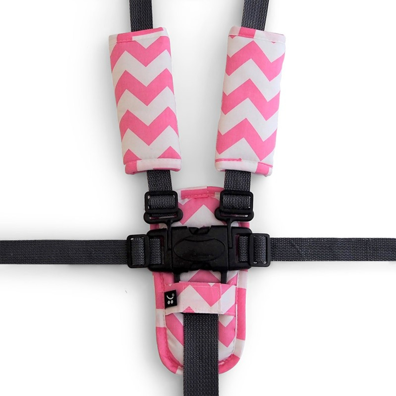 Outlook Pram Harness Cover Set - PINK CHEVRON