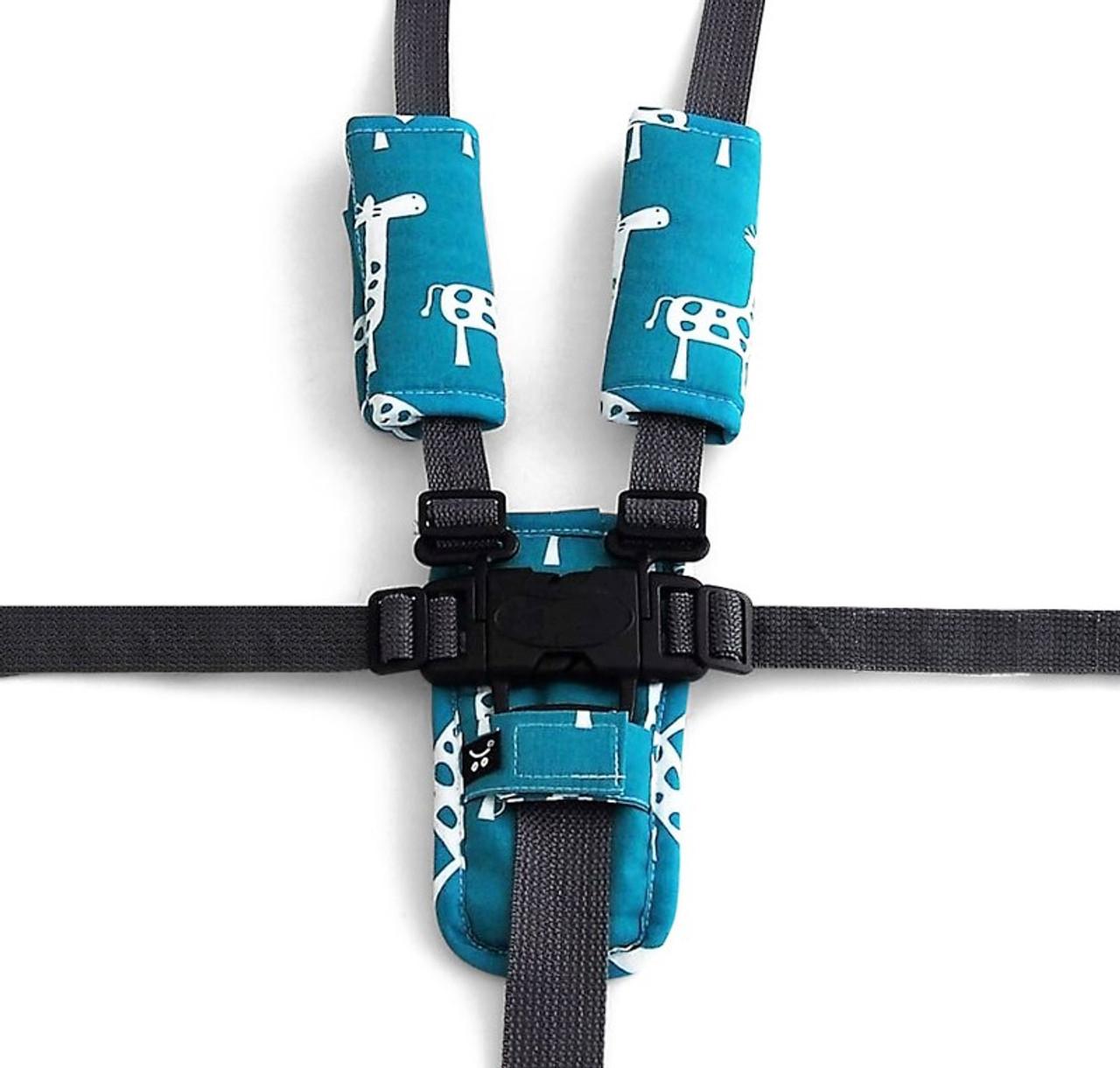 Outlook Pram Harness Cover Set - TEAL GIRAFFE
