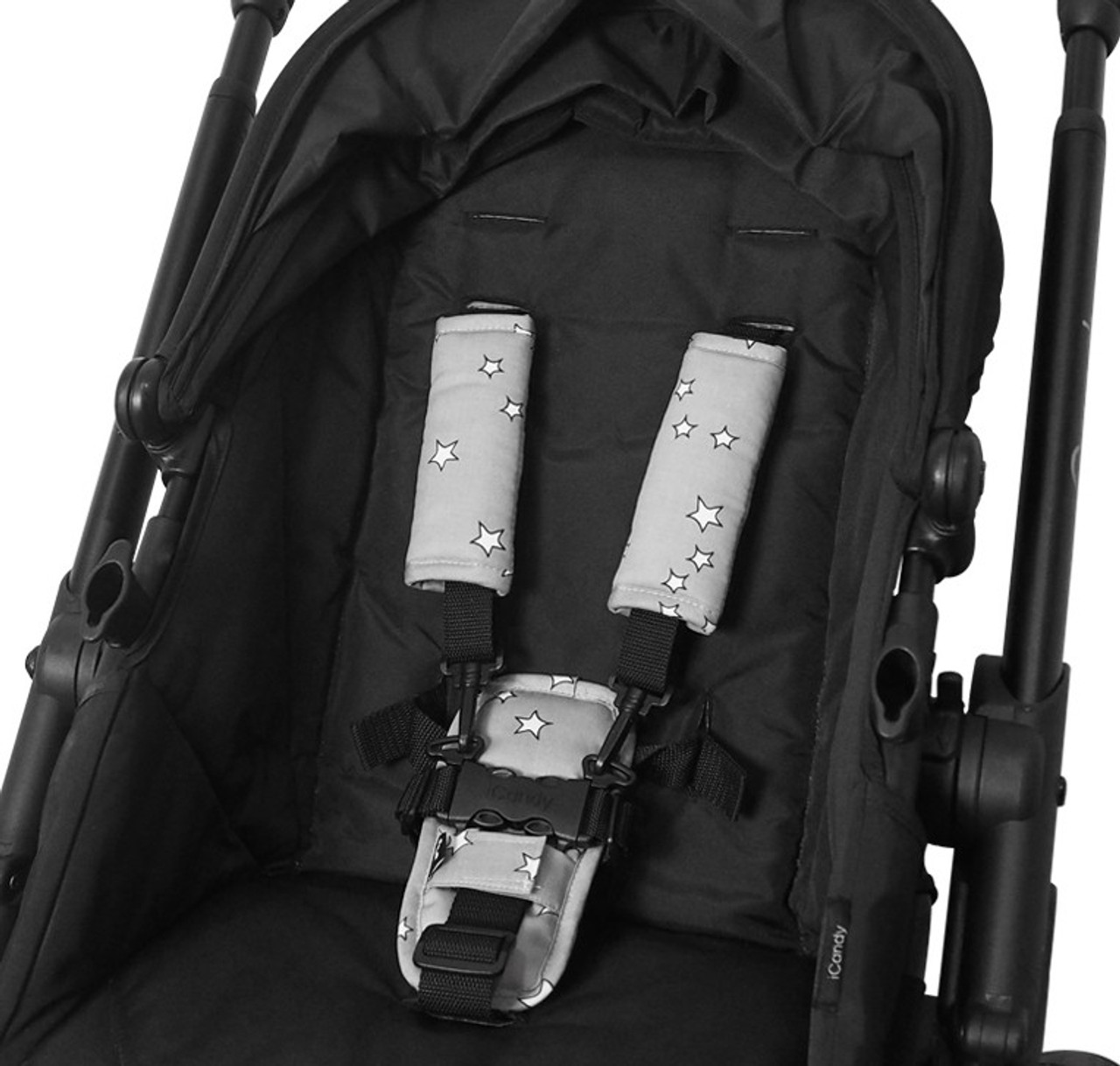 Outlook Pram Harness Cover Set - GREY STARS