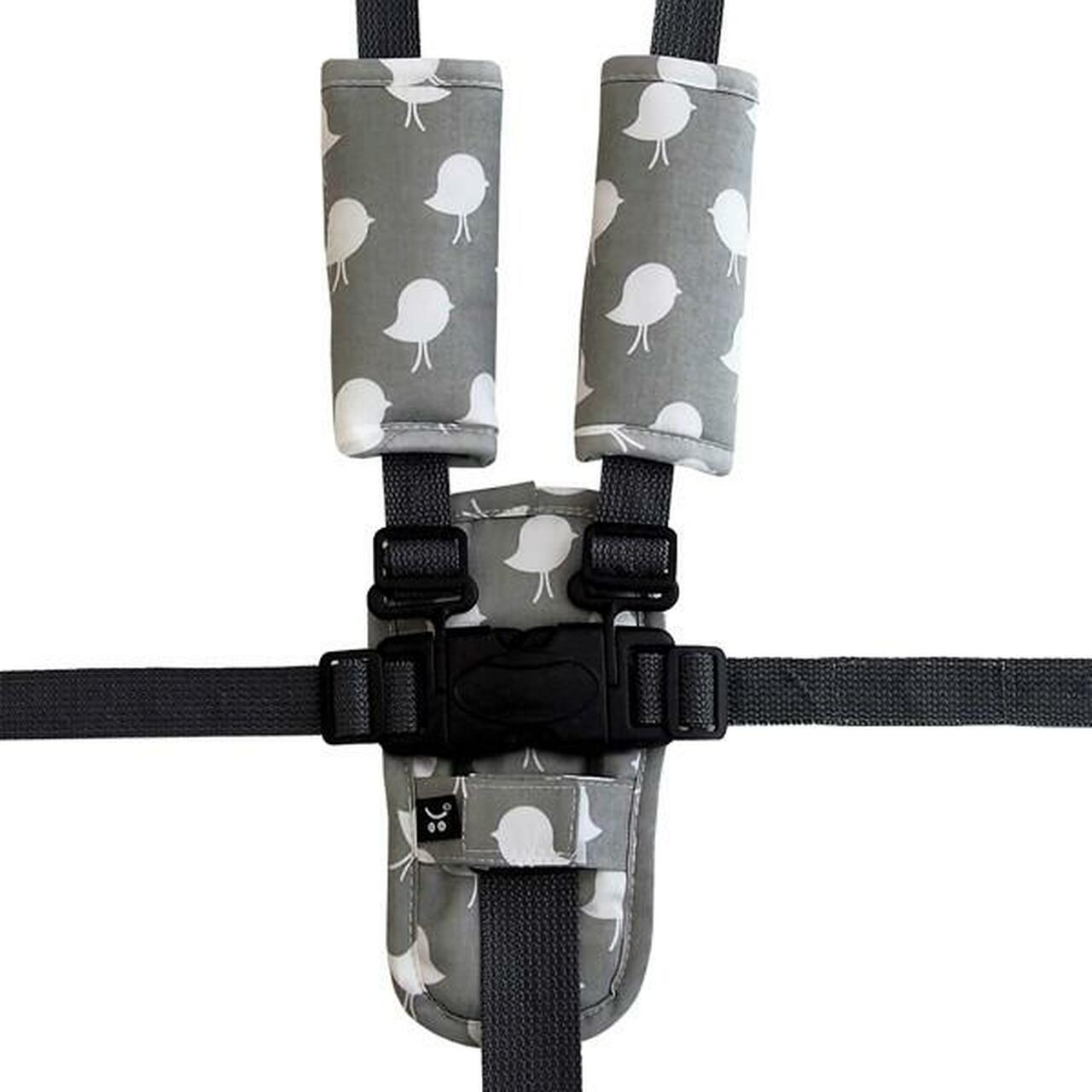 Outlook Pram Harness Cover Set - GREY BIRDS