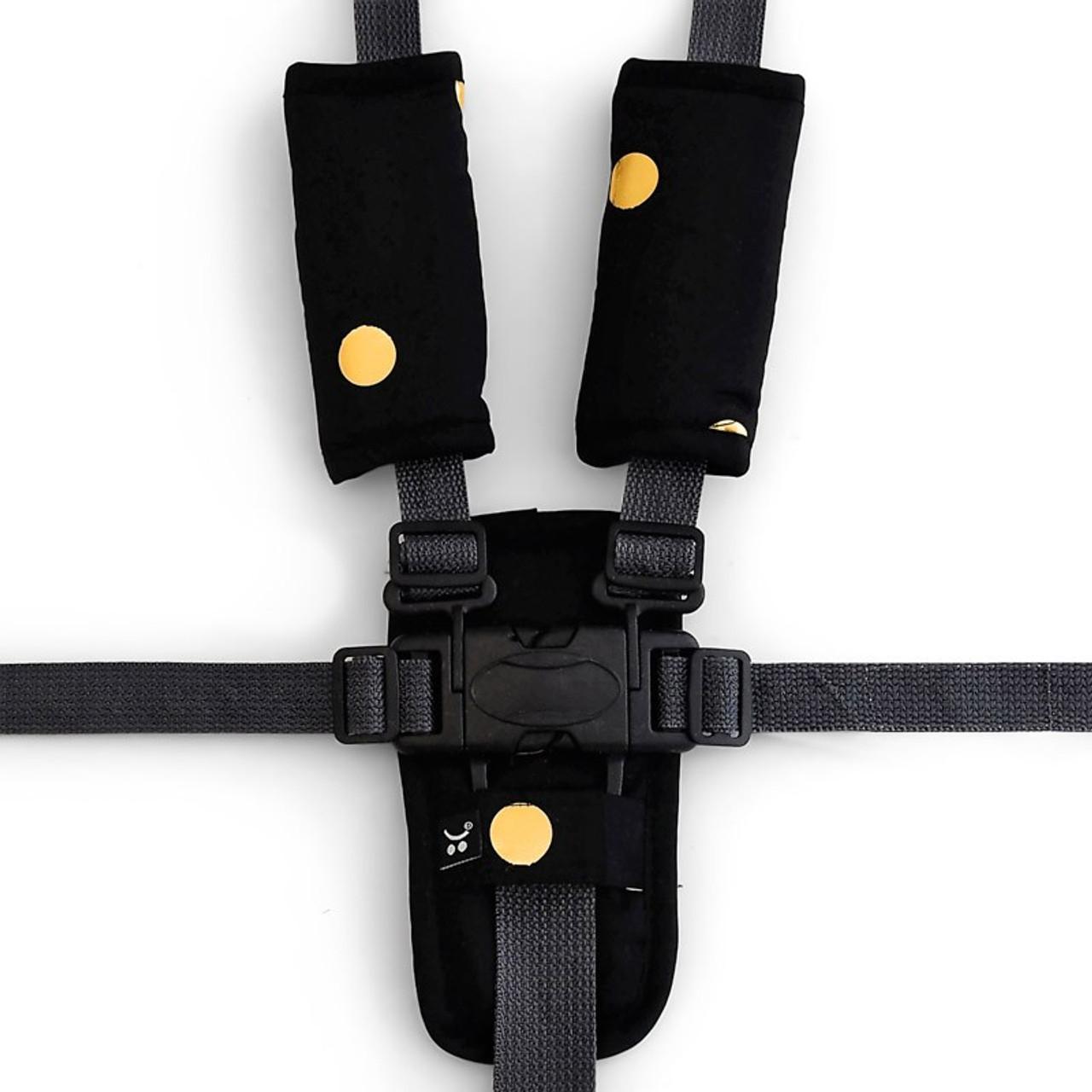 Outlook Get Foiled Pram Harness Cover Set - BLACK/GOLD SPOTS