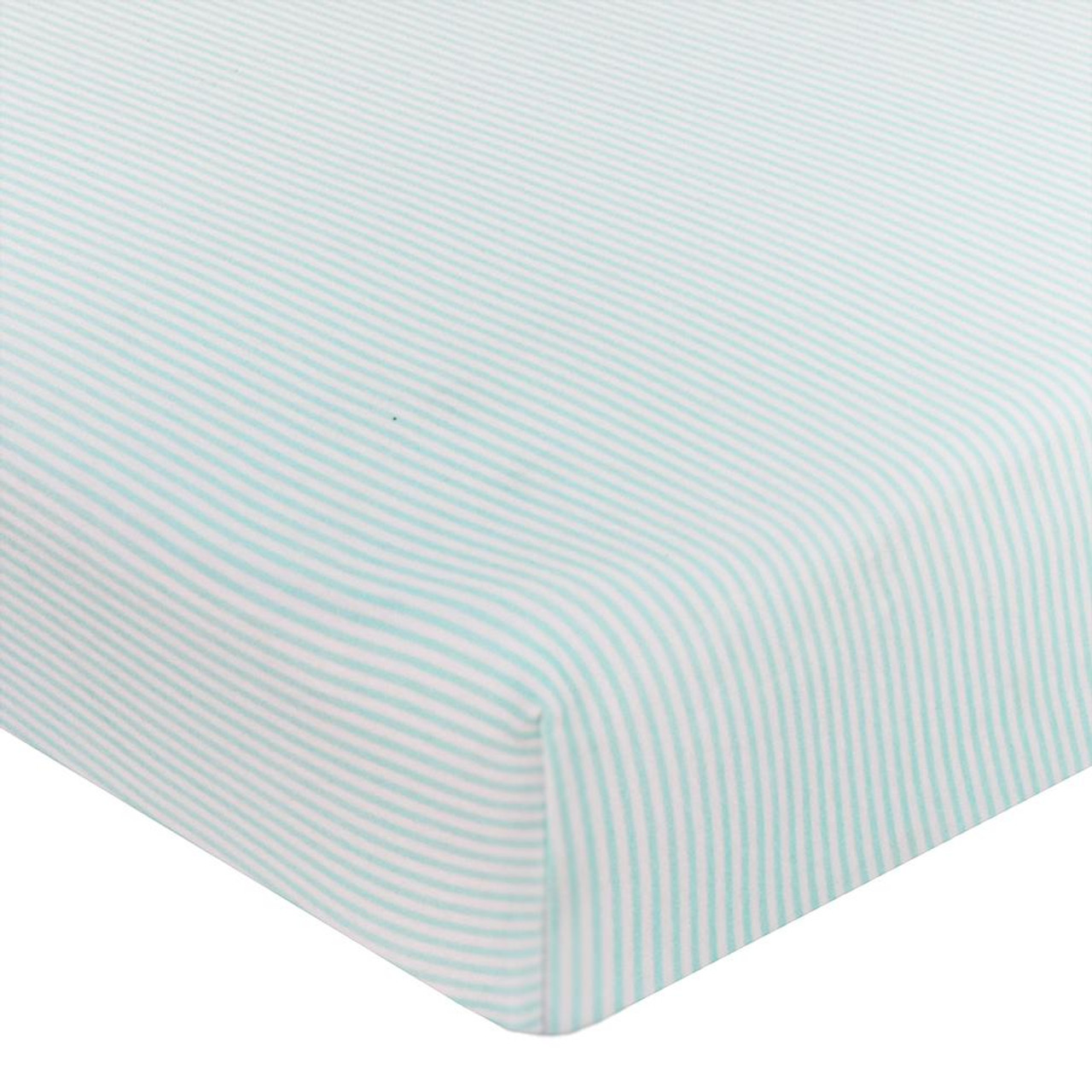 The Living Textiles Jersey Cot Fitted Sheet - AQUA STRIPE