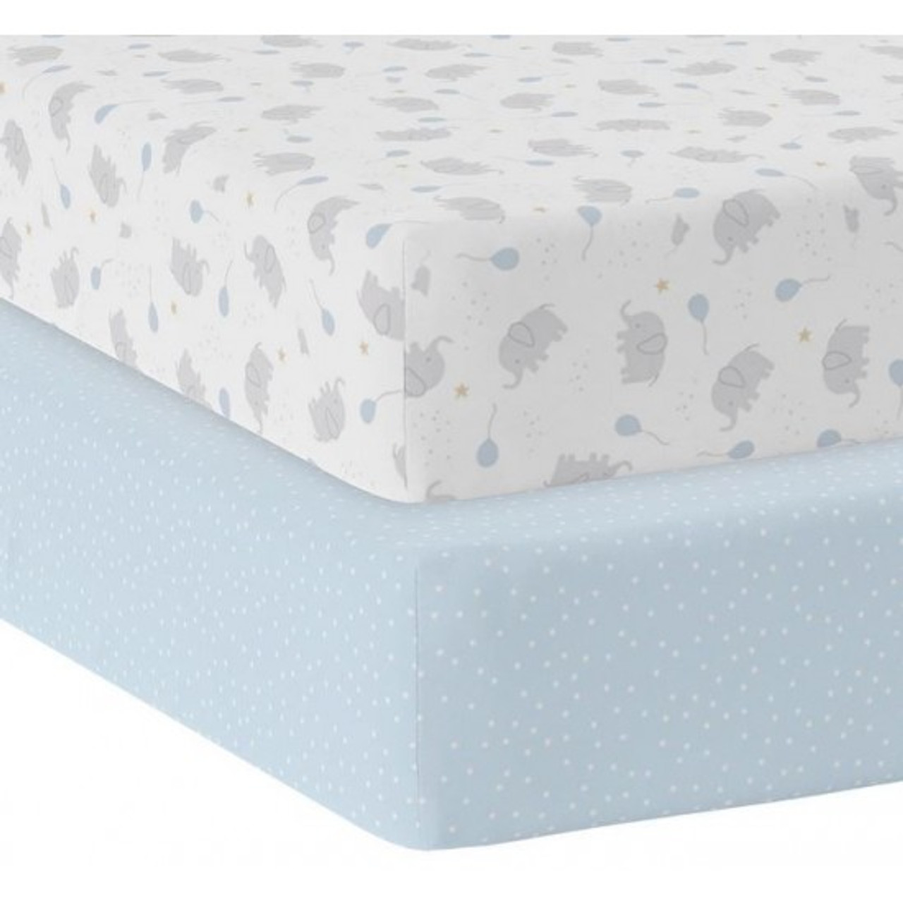 Living Textiles Jersey Cot Fitted Sheet MASON & BLUE DOT