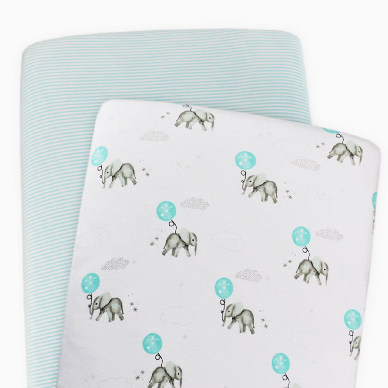 The Living Textiles 2 pack Cotton Jersey Bassinet Fitted Sheet - ELEPHANT