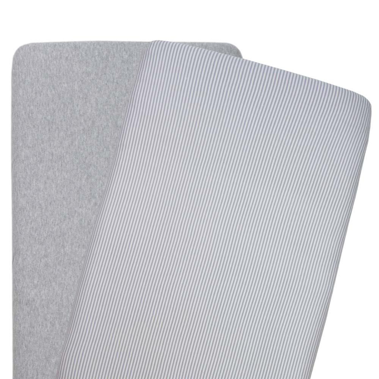 The Living Textiles 2 pack Cotton Jersey Bassinet Fitted Sheet - GREY