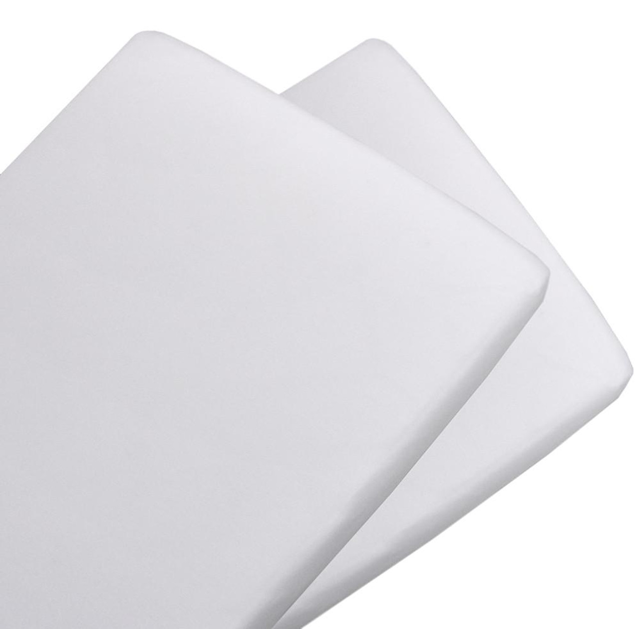 The Living Textiles 2 pack Cotton Jersey Bassinet Fitted Sheet - WHITE
