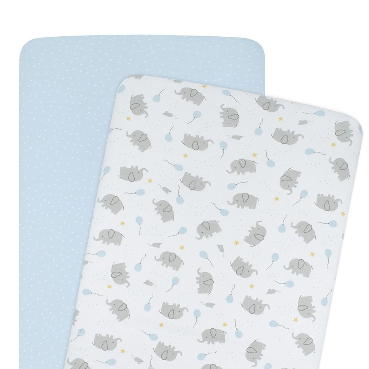 The Living Textiles 2 pack Cotton Jersey Bassinet Fitted Sheet - MASON & BLUE DOTS
