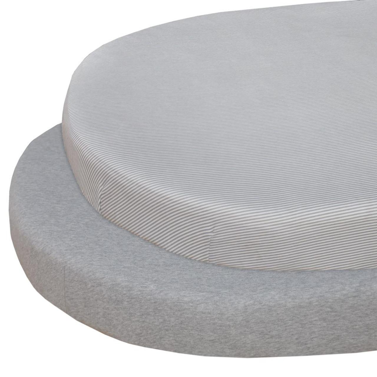 The Living Textiles 2 pk Cotton Jersey Round Cot Sheet Grey & Stripe