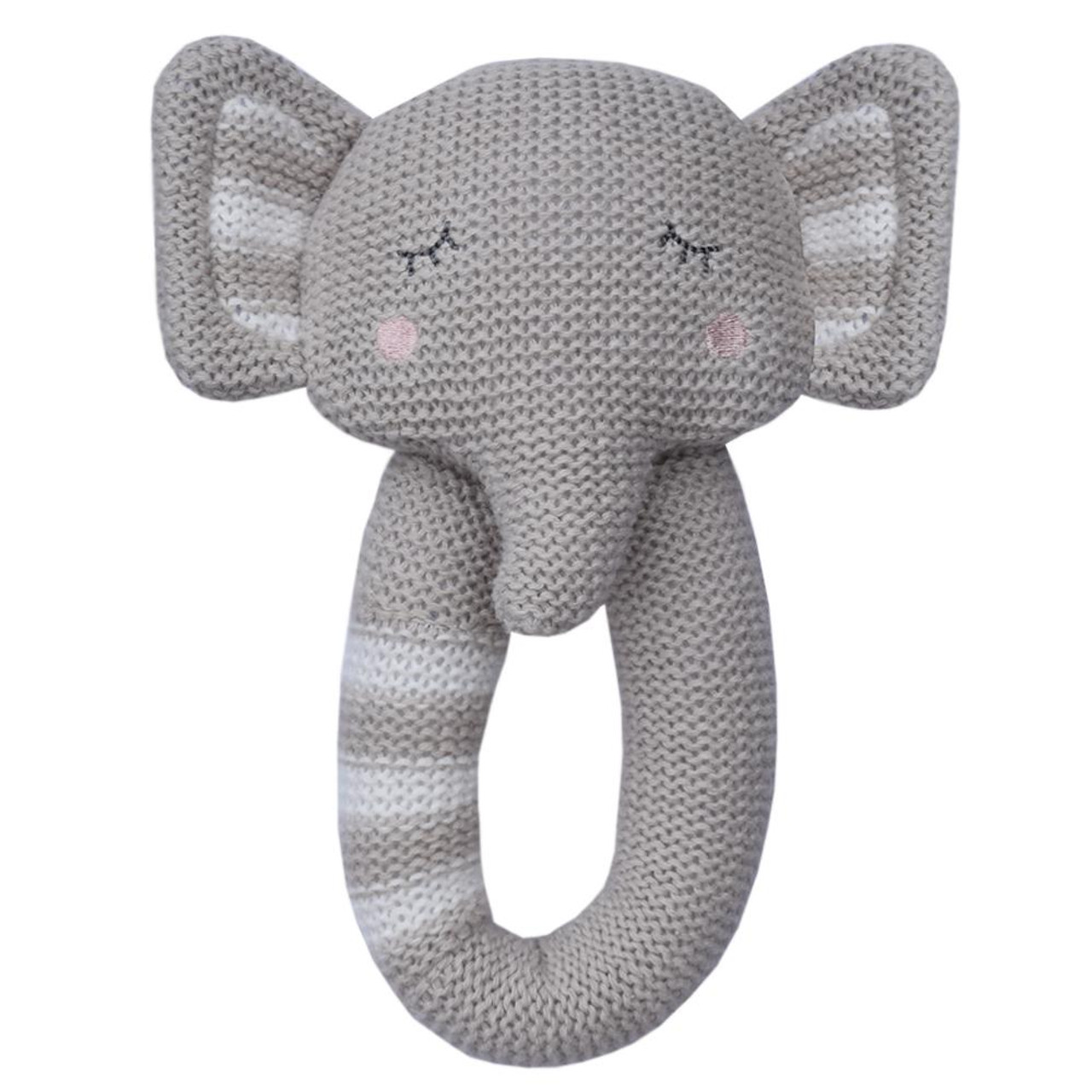Living Textiles Knitted Rattle - ELEPHANT