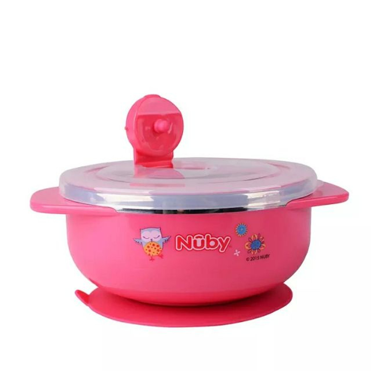 Nuby Stainless Steel Suction Bowl - PINK