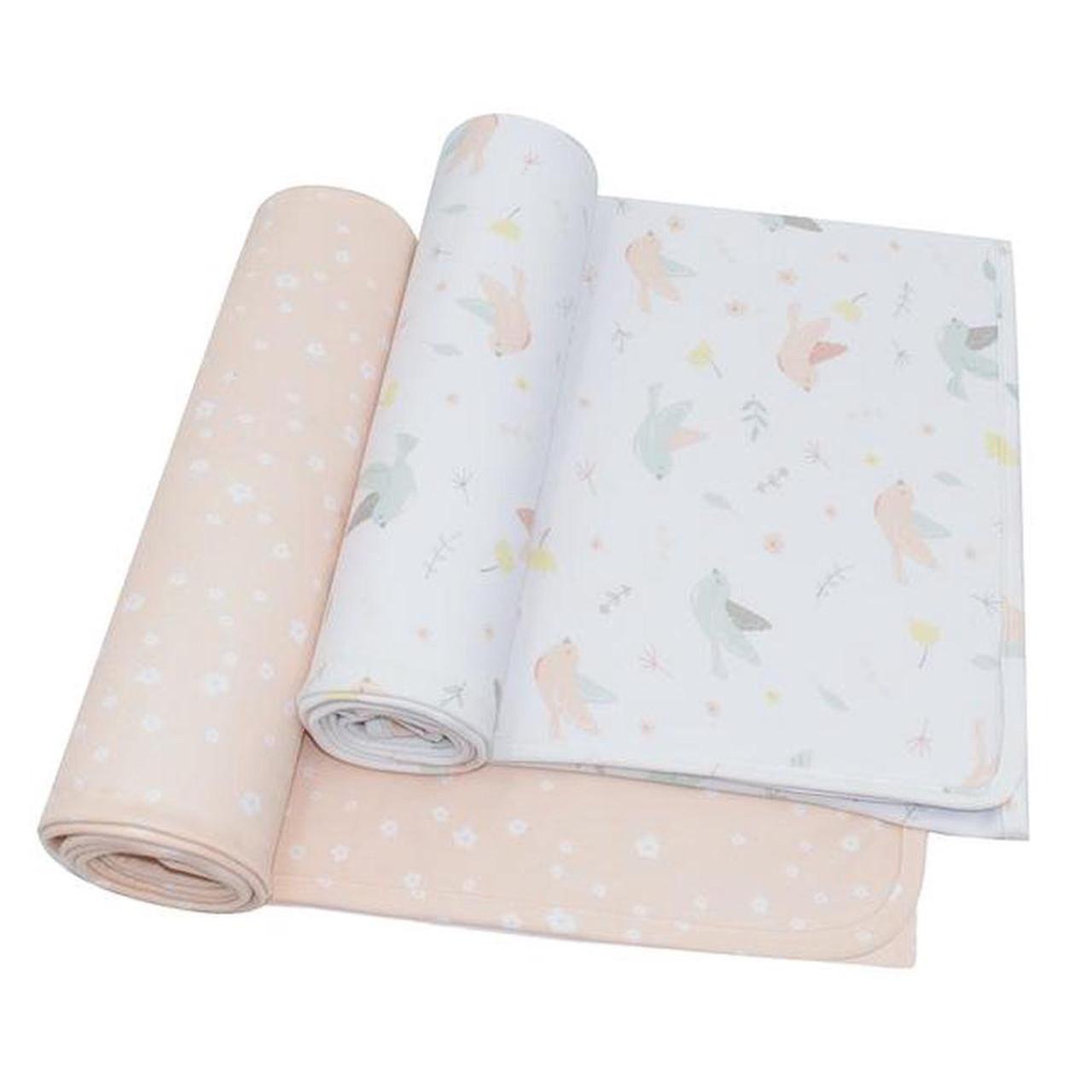 Living Textiles Jersey Wrap 2pk AVA BLUSH FLORAL