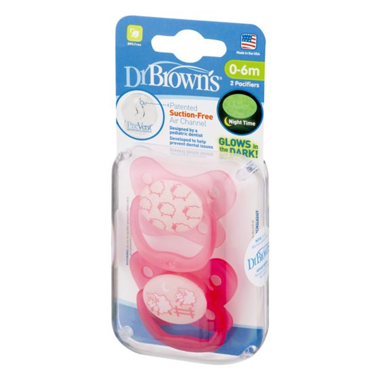 Dr Brown's PreVent Orthodontic Pacifiers Glow in the Dark 0-6M