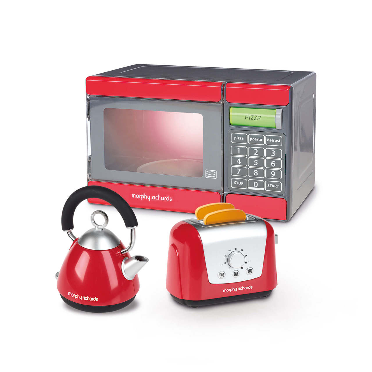 Casdon Pretend Play Red Microwave, Kettle & Toaster Set