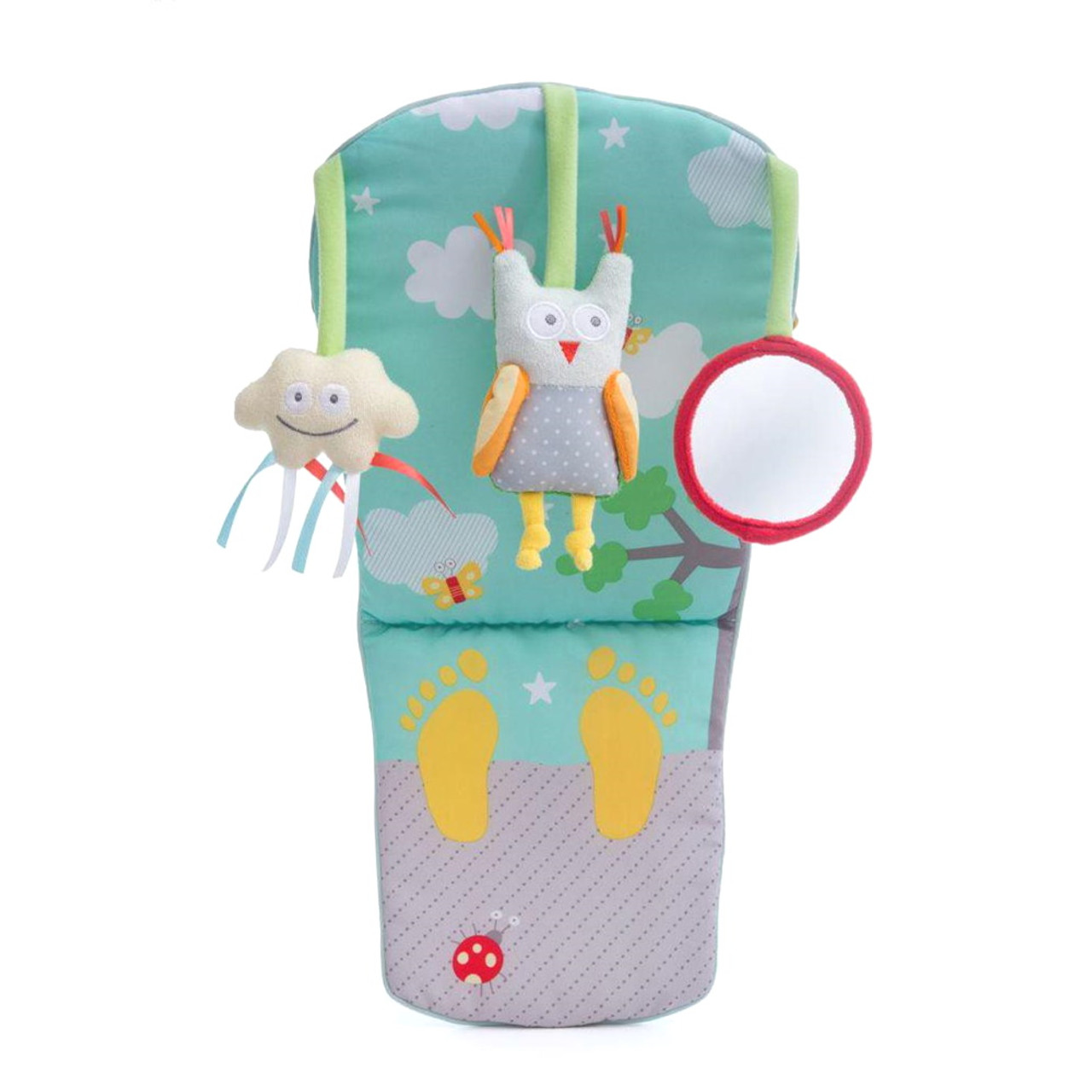 TAF Toys Play & Kick Car Toy provides entertainment for baby when travelling in a rear-facing car seat, with music and light features to helps develop baby's senses and motor skills development.