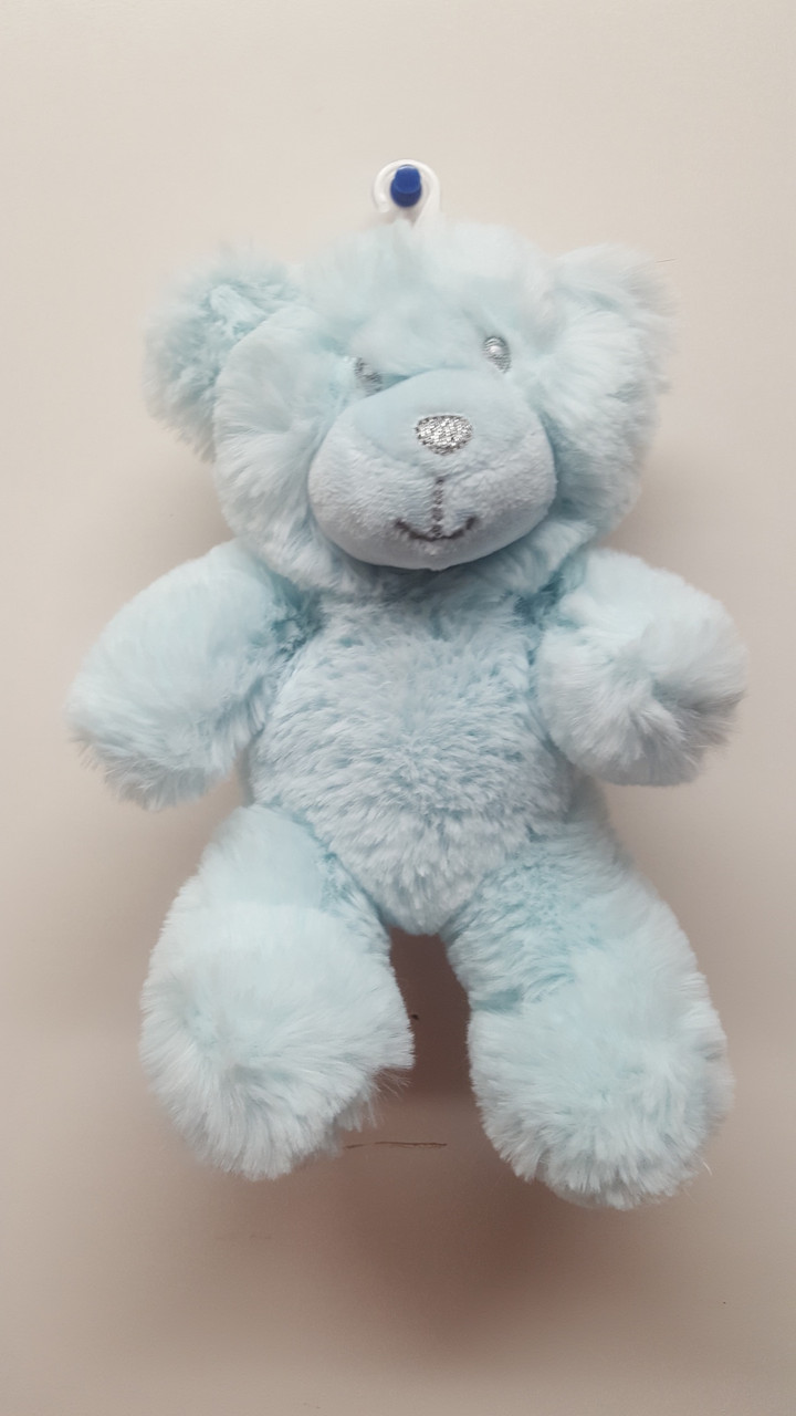 Cotton Candy Plush Bear Rattle - BLUE