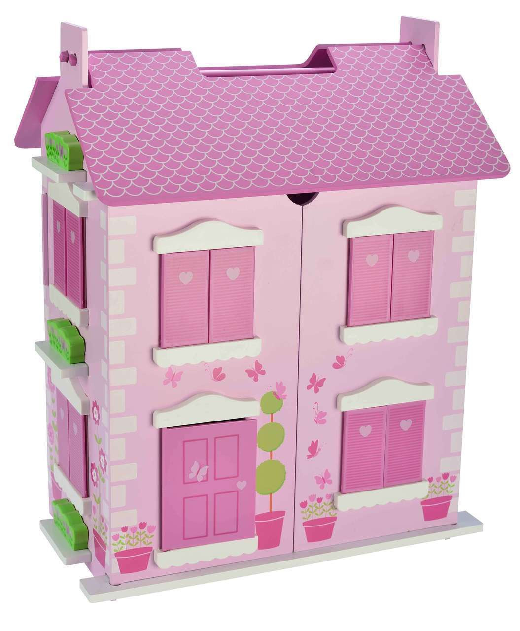 Bubbadoo Wooden Pastel Pink Doll House
