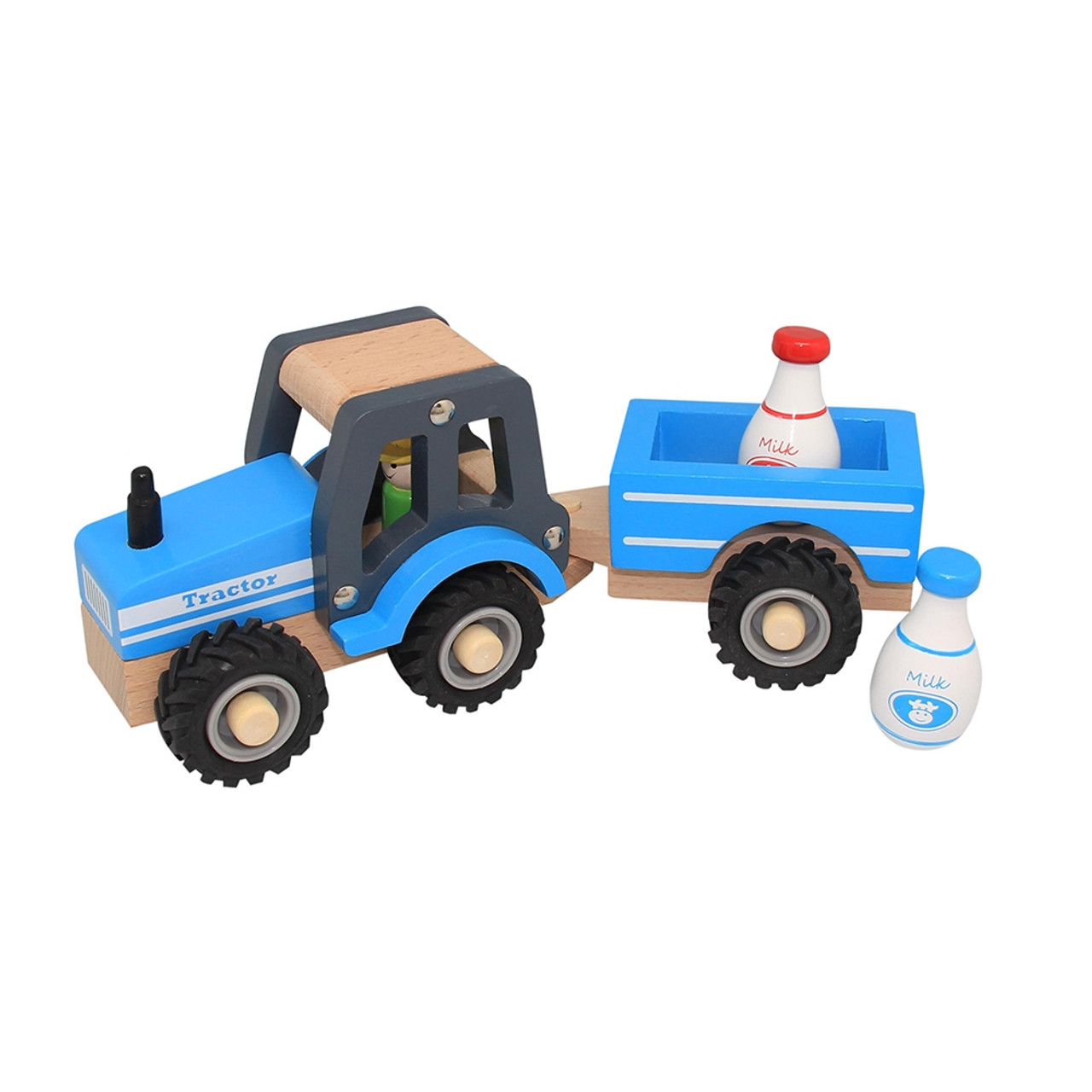 Wooden Toy Blue Tractor and Trailer