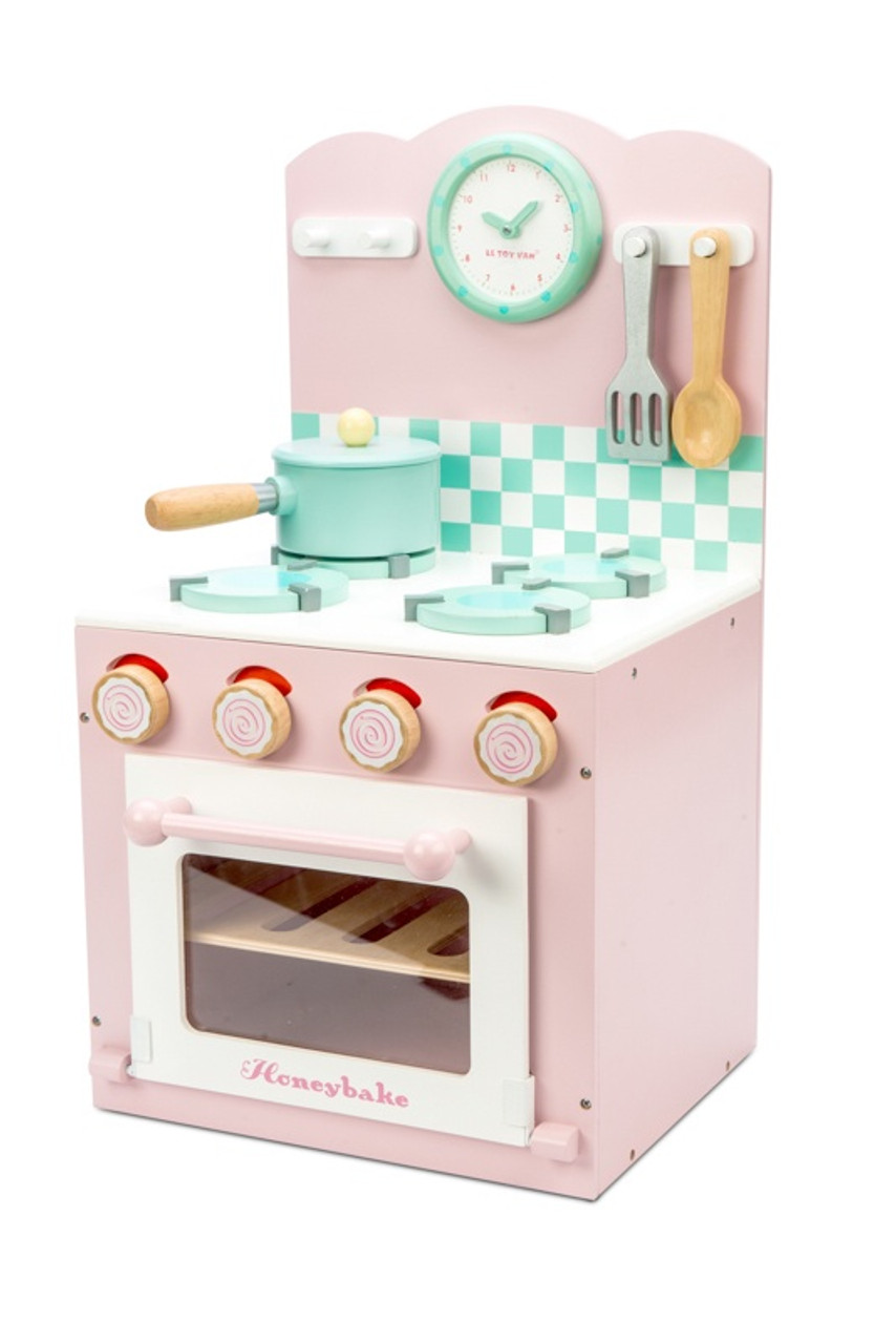 Le Toy Van Honeybake Home Pink Oven & Hob Pink at Baby Barn Discounts A stylish painted wooden oven and hob set from LE Toy Van.