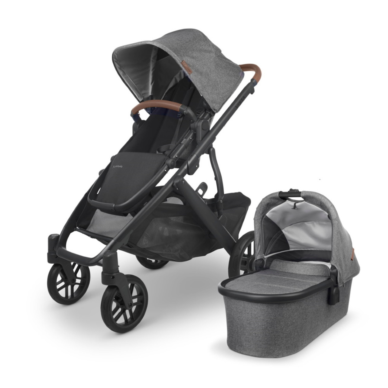 UPPAbaby Vista V2 Pram toddler seat can either ride forwards, backwards, or upright, and reclined