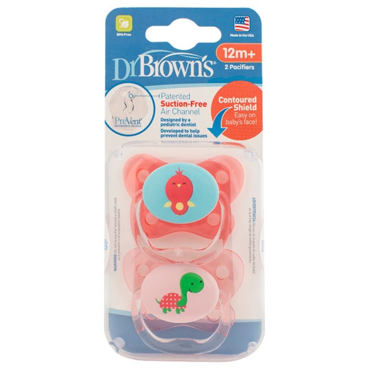 Dr Brown's Prevent Contoured Pacifier 12m+ 2pk - PINK