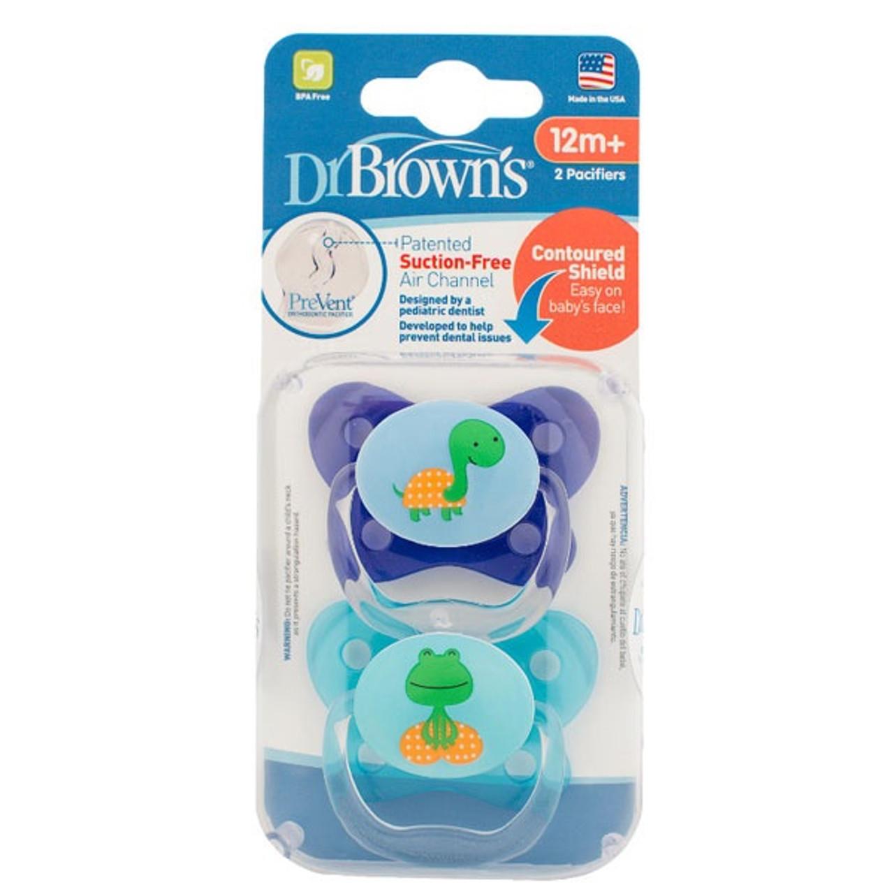 Dr Brown's Prevent Contoured Pacifier 12m+ 2pk - BLUE