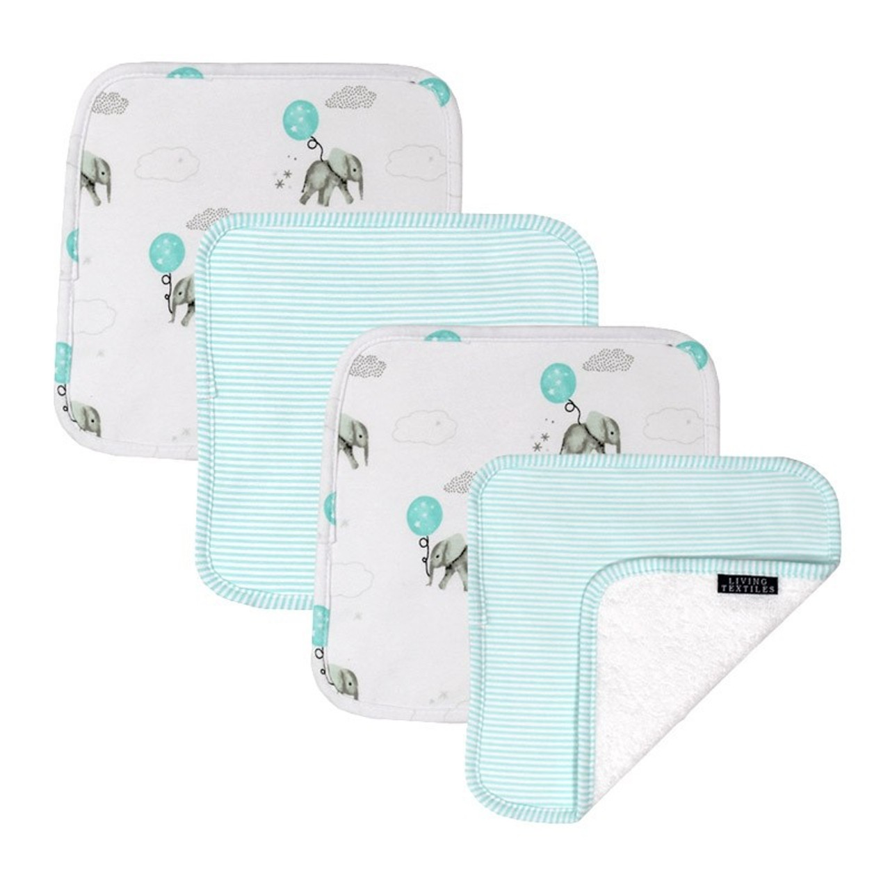 Living Textiles Cotton Towelling Jersey 4pk Face Wash Cloths - ELEPHANT Living Textiles Cotton Towelling Jersey 4pk Face Wash Cloths - SWAN Add a bit if luxury to baby's day with the 4pk of washcloths from Living Textiles. These deluxe  washcloths are perfect for everyday use during bath time or on the go.