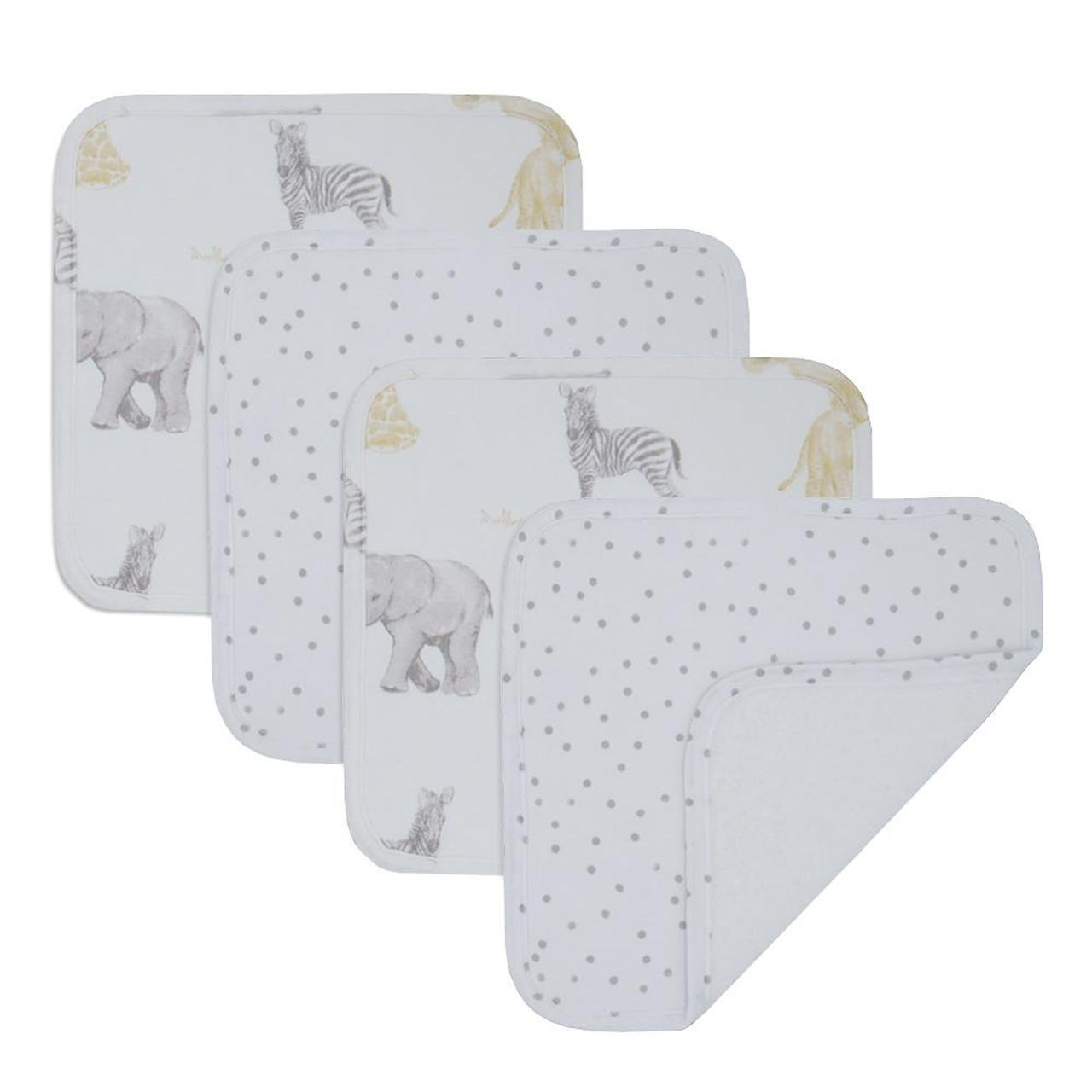 Living Textiles Cotton Towelling Jersey 4pk Face Wash Cloths - SAVANNA Living Textiles Cotton Towelling Jersey 4pk Face Wash Cloths - SWAN Add a bit if luxury to baby's day with the 4pk of washcloths from Living Textiles. These deluxe  washcloths are perfect for everyday use during bath time or on the go.