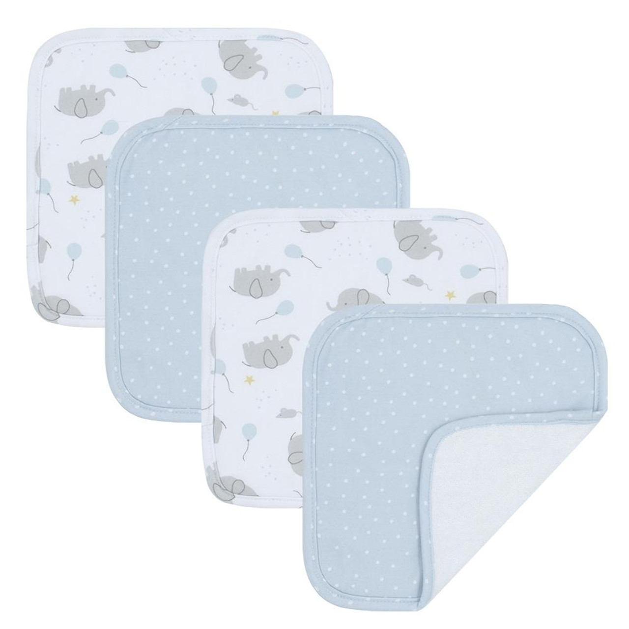 Living Textiles Cotton Towelling Jersey 4pk Face Wash Cloths- MASON Living Textiles Cotton Towelling Jersey 4pk Face Wash Cloths - SWAN Add a bit if luxury to baby's day with the 4pk of washcloths from Living Textiles. These deluxe  washcloths are perfect for everyday use during bath time or on the go.