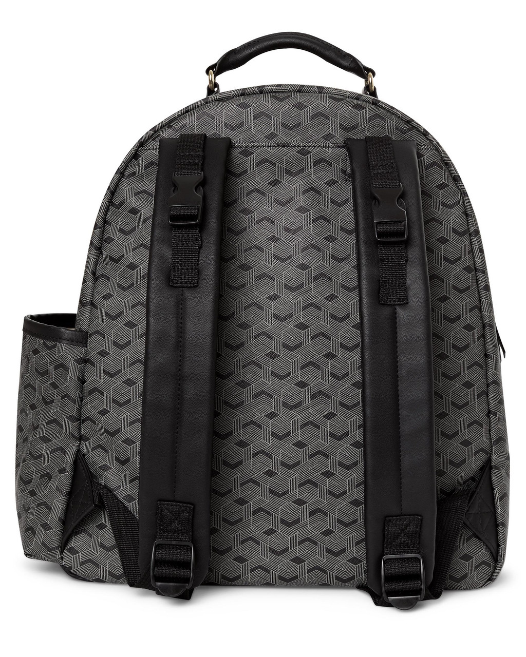 The Skip Hop Deco Saffiano Backpack features a bold yet understated style made from luxe textured vegan leather. Practical and stylish for on the go.