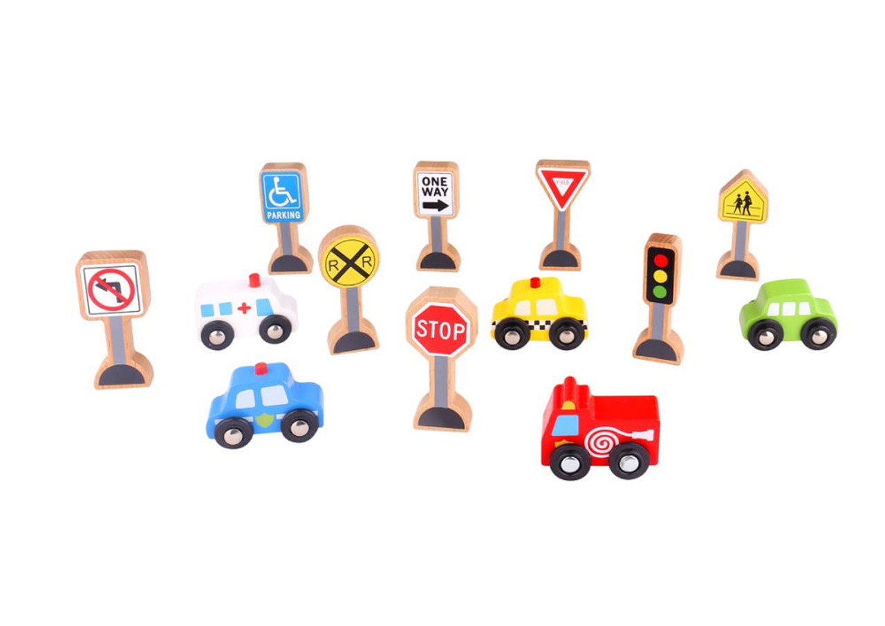 Tooky Toy Transportation and Sign Set at Baby Barn Discounts These wooden vehicles and road signs are a great set to complement your wooden garage or toy vehicles.