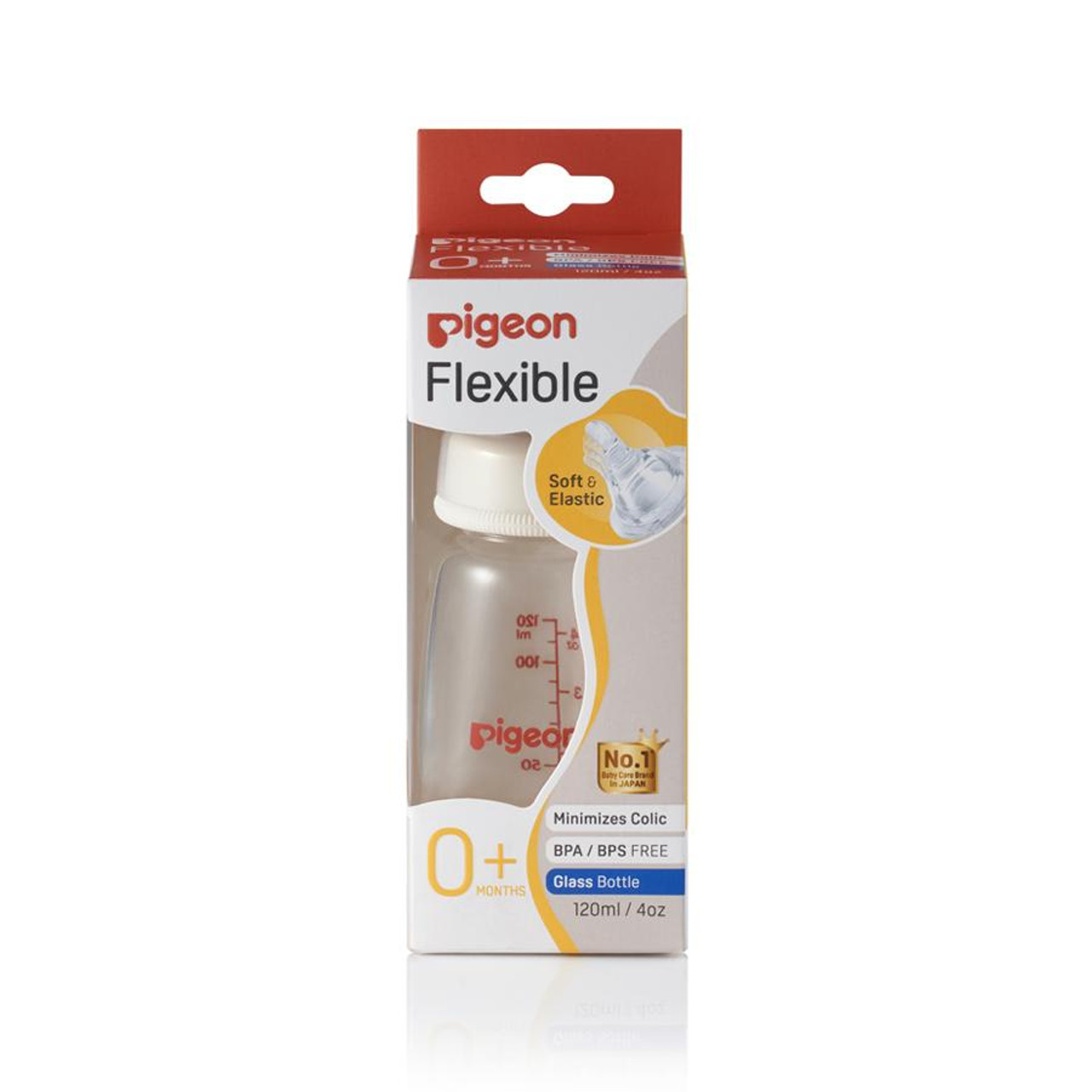 Pigeon Flexible Peristaltic Glass Slim Neck Bottle - 120ml at Baby Barn Discounts
