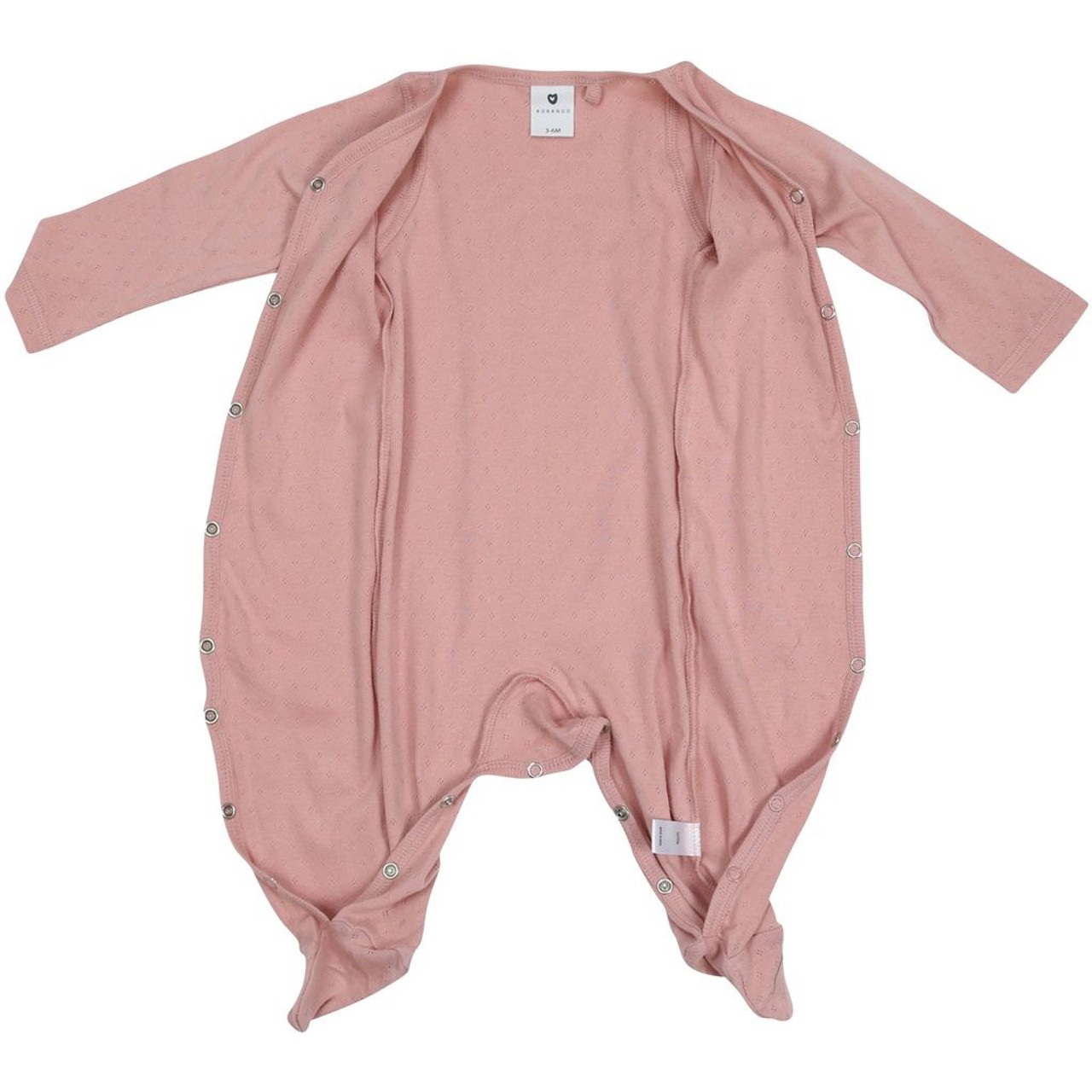 Korango Pointelle Romper Pink at Baby Barn Discounts This cotton romper has easy access press stud buttons at the front of the romper with enclosed feet to keep bub cuddly and warm.
