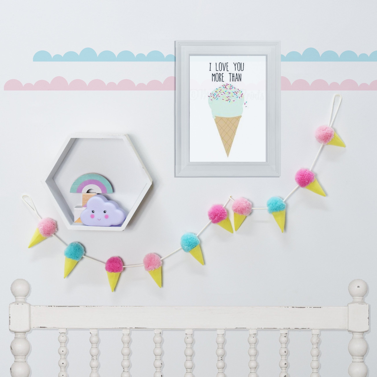 Lolli Living Decorative Garland Pom Pom Ice Cream at Baby Barn Discounts Add some colour and touch of fun to your little ones bedroom with this Ice Cream pompom garland.