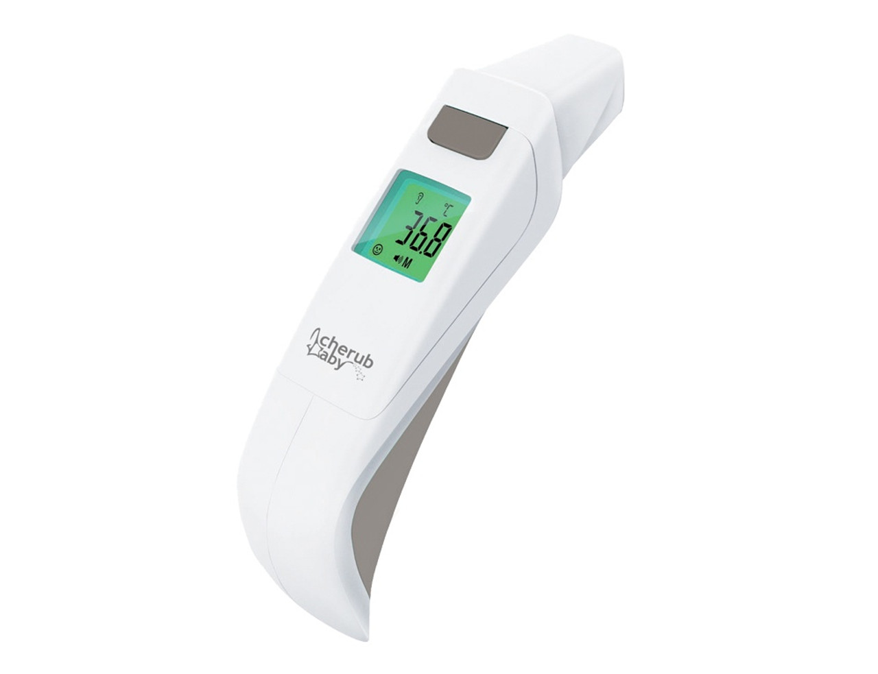 Cherub Baby 5 in 1 Touchless Infrared Digital Ear, Forehead & Bath Thermometer at Baby Barn Discounts Accuscan technology takes a continuous reading across key points on the forehead to calculate a more consistent and more accurate temperature than achieved from a single reading