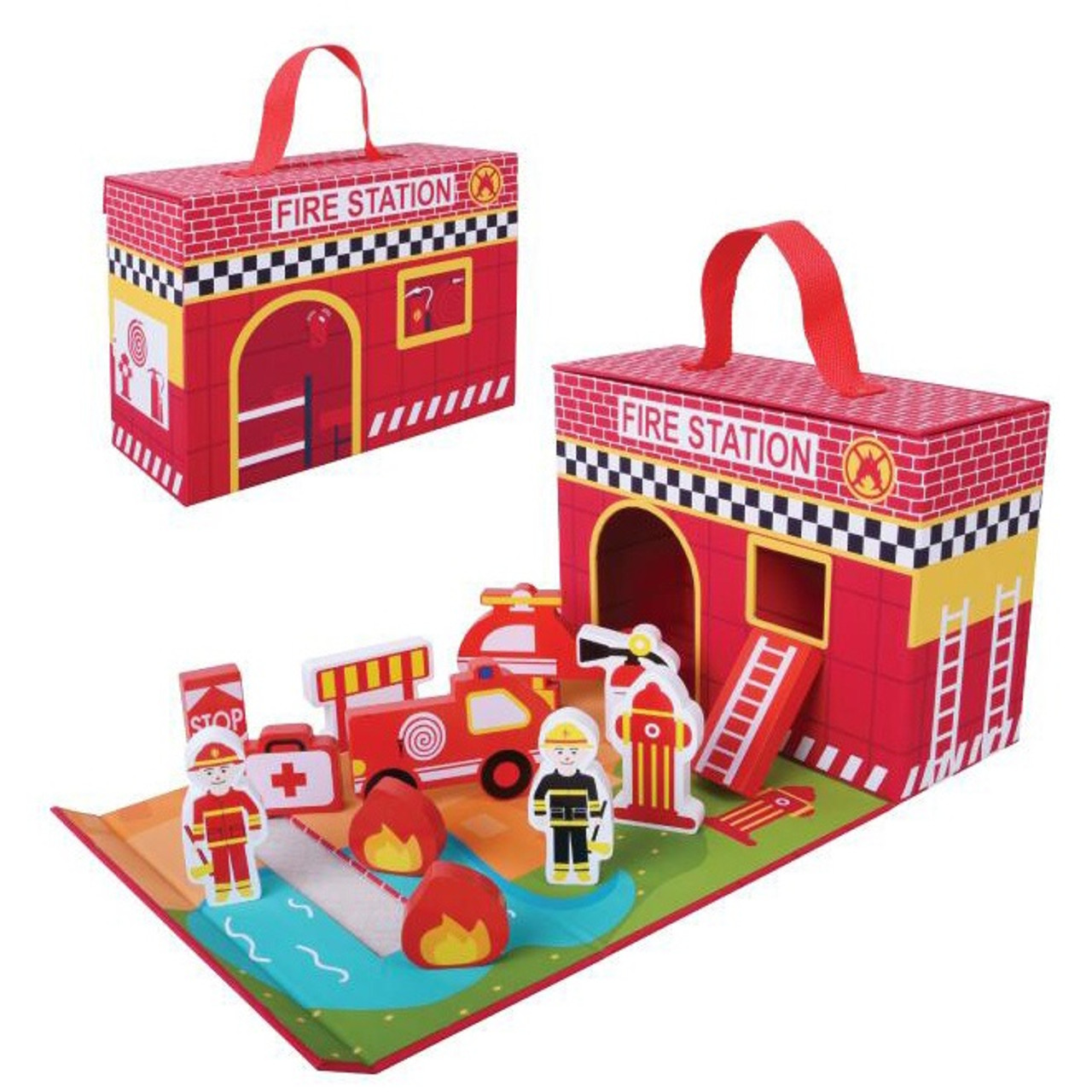 Toyslink Foldable Fire Station Playset at Baby Barn Discounts Stunning fold out fire station with wooden accessories and storage box.