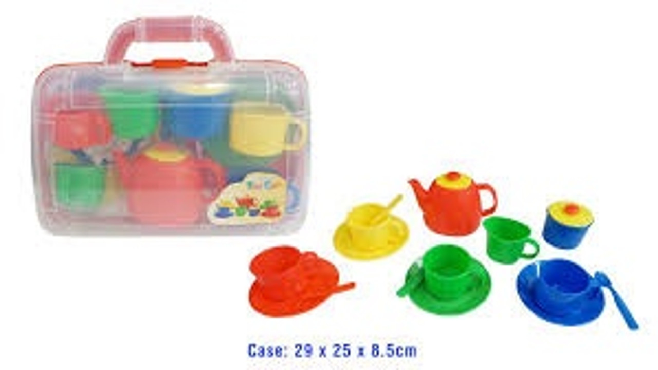Portable Tea Set in Carry Case at Baby Barn Discounts Different coloured cups, saucers and spoons to make a set perfect for a high tea.