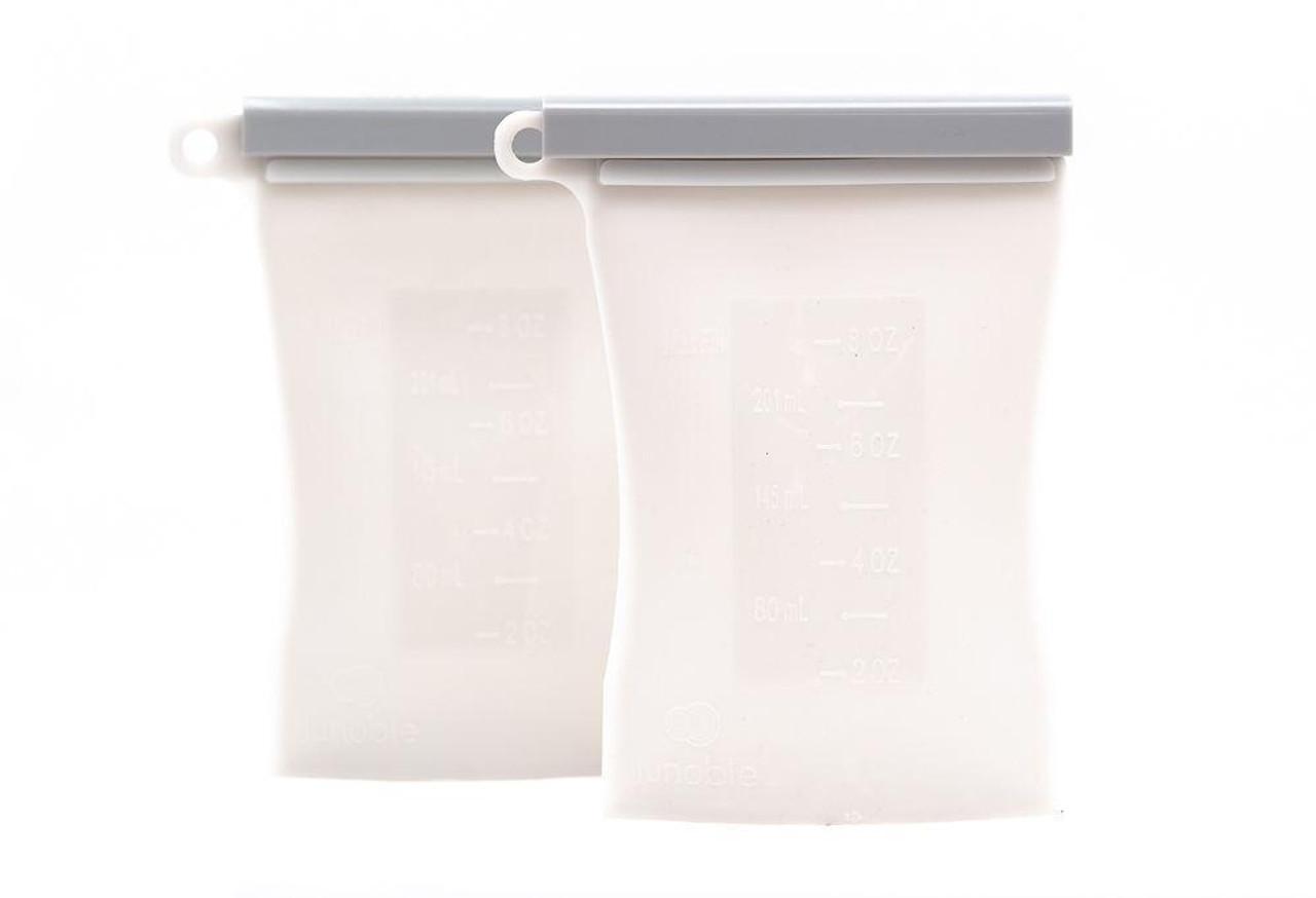 Junobie Reusable Silicone Breastmilk Storage Bag 2pk GREY at Baby Barn Discounts The Junobie Reusable Breastmilk Storage Bag is made from 100% FDA Approved food grade silicone.