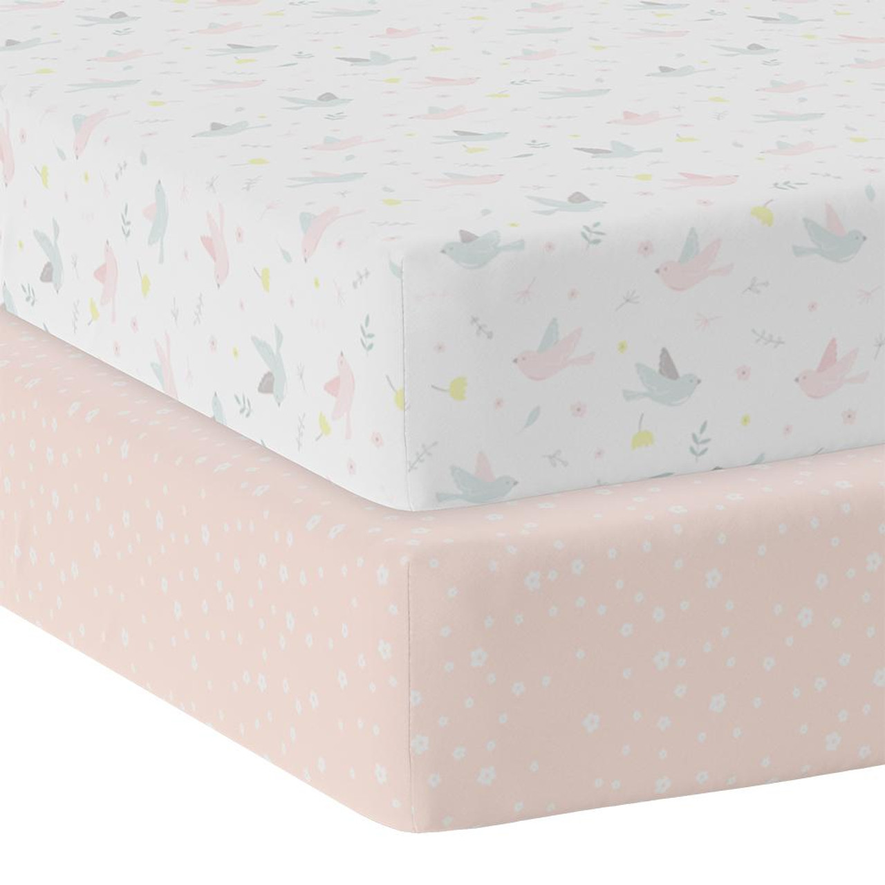 The Living Textiles 2 pack Cotton Jersey Cot Fitted Sheet