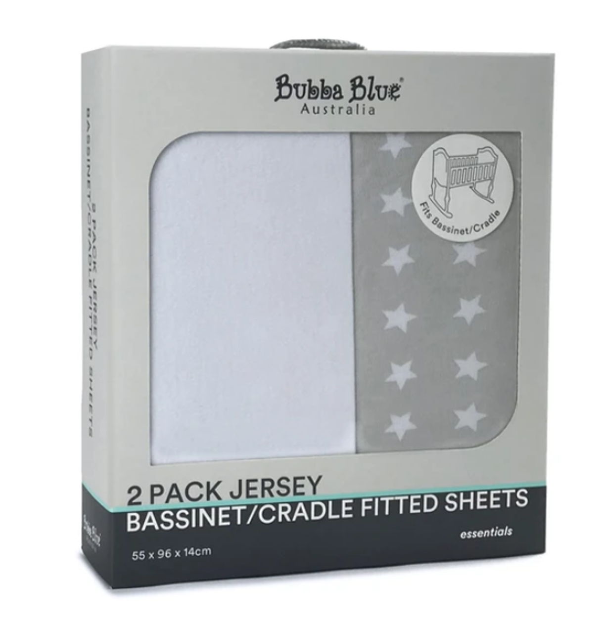Bubba Blue Jersey Bassinet/Cradle Fitted Sheet 2pk at Baby Barn Discounts Bubba Blue Essential two pack of soft cotton Jersey Bassinet/Cradle Fitted Sheets.