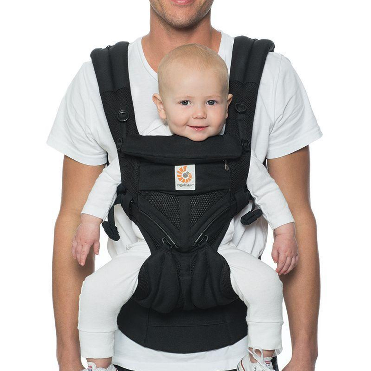 Ergobaby OMNI 360 Baby Carrier All in One Cool Air Mesh ONYX BLACK at Baby Barn Discounts Omni 360 in a Cool Air Mesh option perfect for the Australian climate.