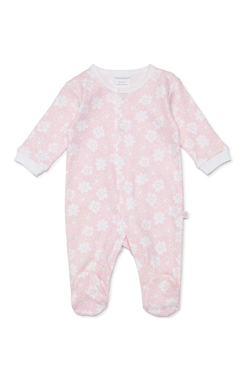 Marquise Footed Growsuit- Pink Floral at Baby Barn Discounts 100% soft cotton growsuit by Marquise, perfect for newborns.