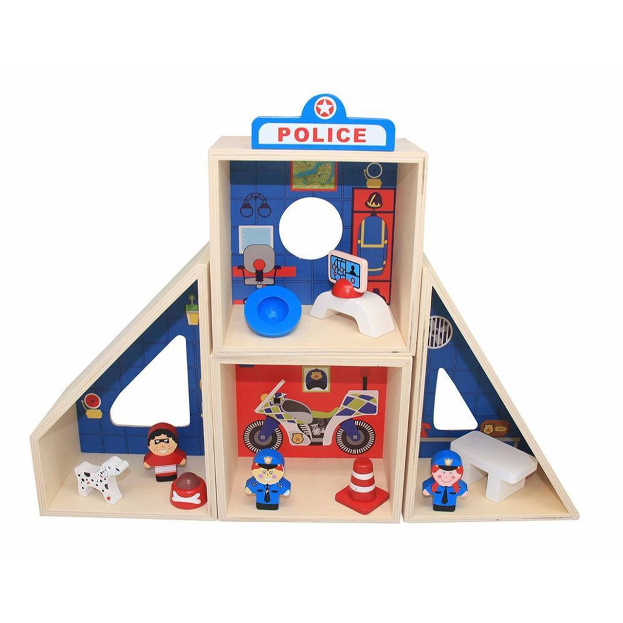 Toyslink Police Station Playset at Baby Barn Discounts Toyslink well finish wooden police station playset.