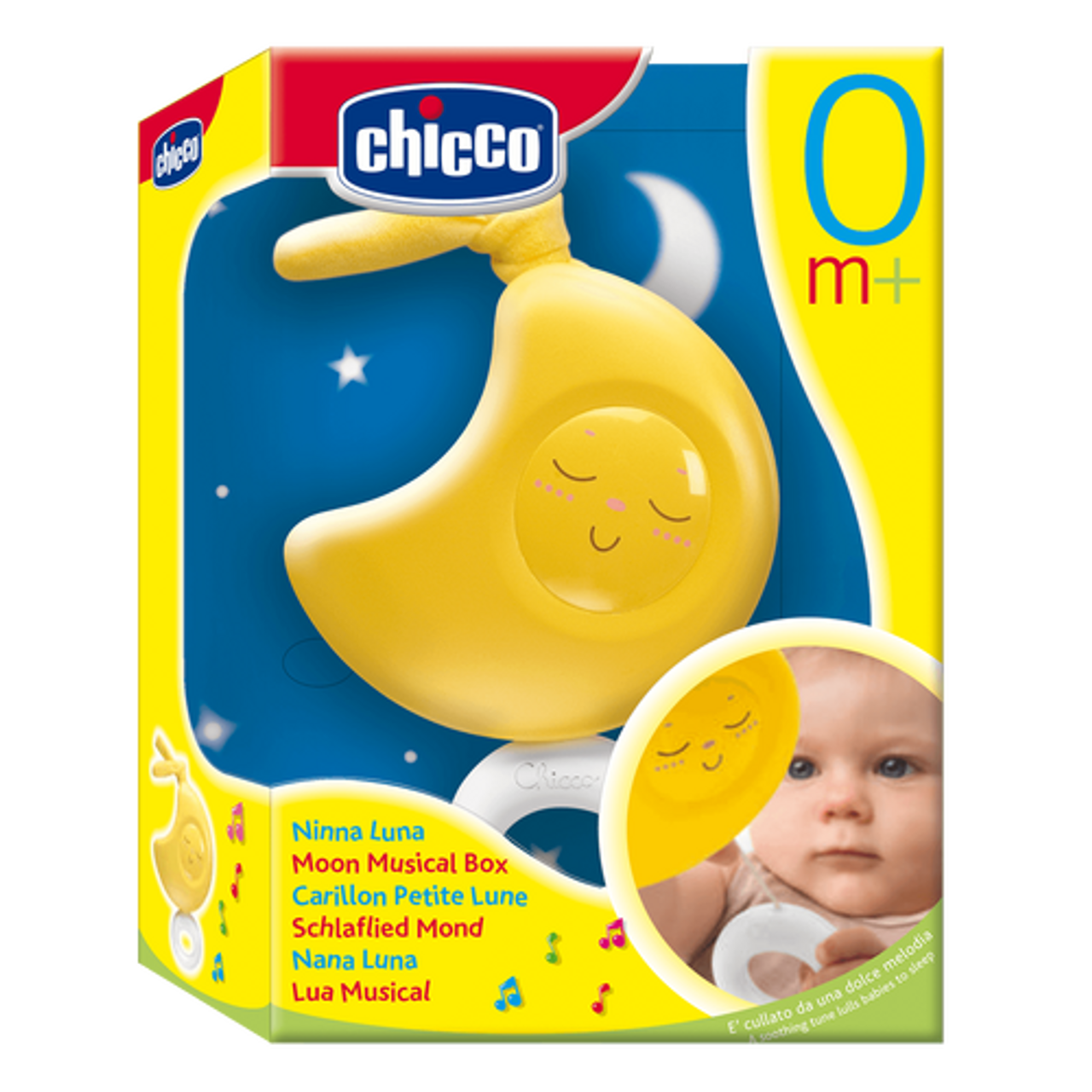 Chicco Lullaby Musical Moon Cot Toy at Baby Barn Discounts Chicco Musical moon simply pull the ring to listen to a soothing tune which softly lulls your little one to sleep.
