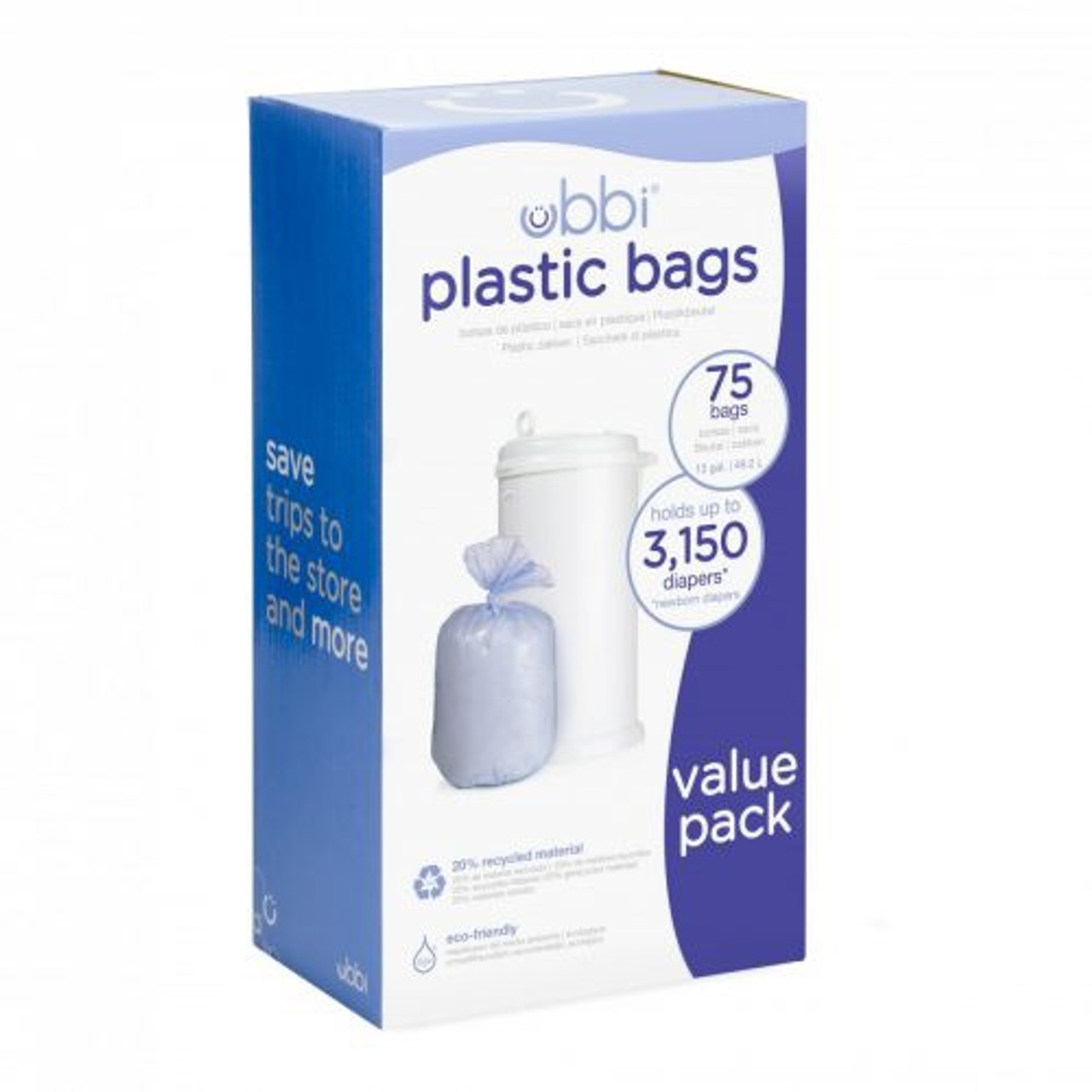 Ubbi Plastic Bags 75 Bag Triple Value Pack at Baby Barn Discounts An eco friendly option for the Ubbi diaper pail. This triple value pack will hold roughly 3150 newborn nappies!