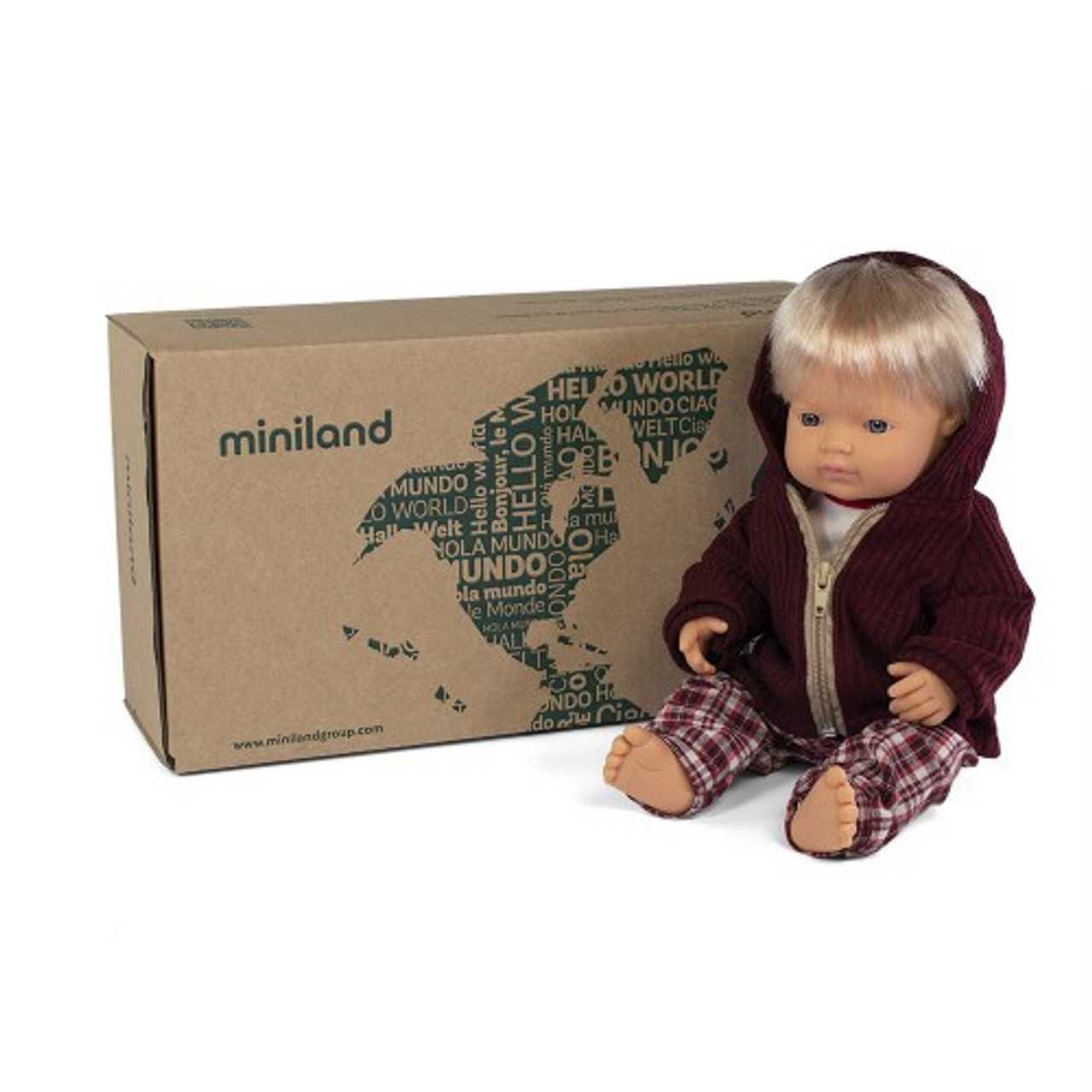 Miniland Doll Anatomically Correct Baby & Outfit Boxed 38 cm (UNDRESSED) - Caucasian Boy | Baby Barn Discounts Miniland Educational dolls set includes a naked doll and clothing set, wrapped in tissue and in a postable box.