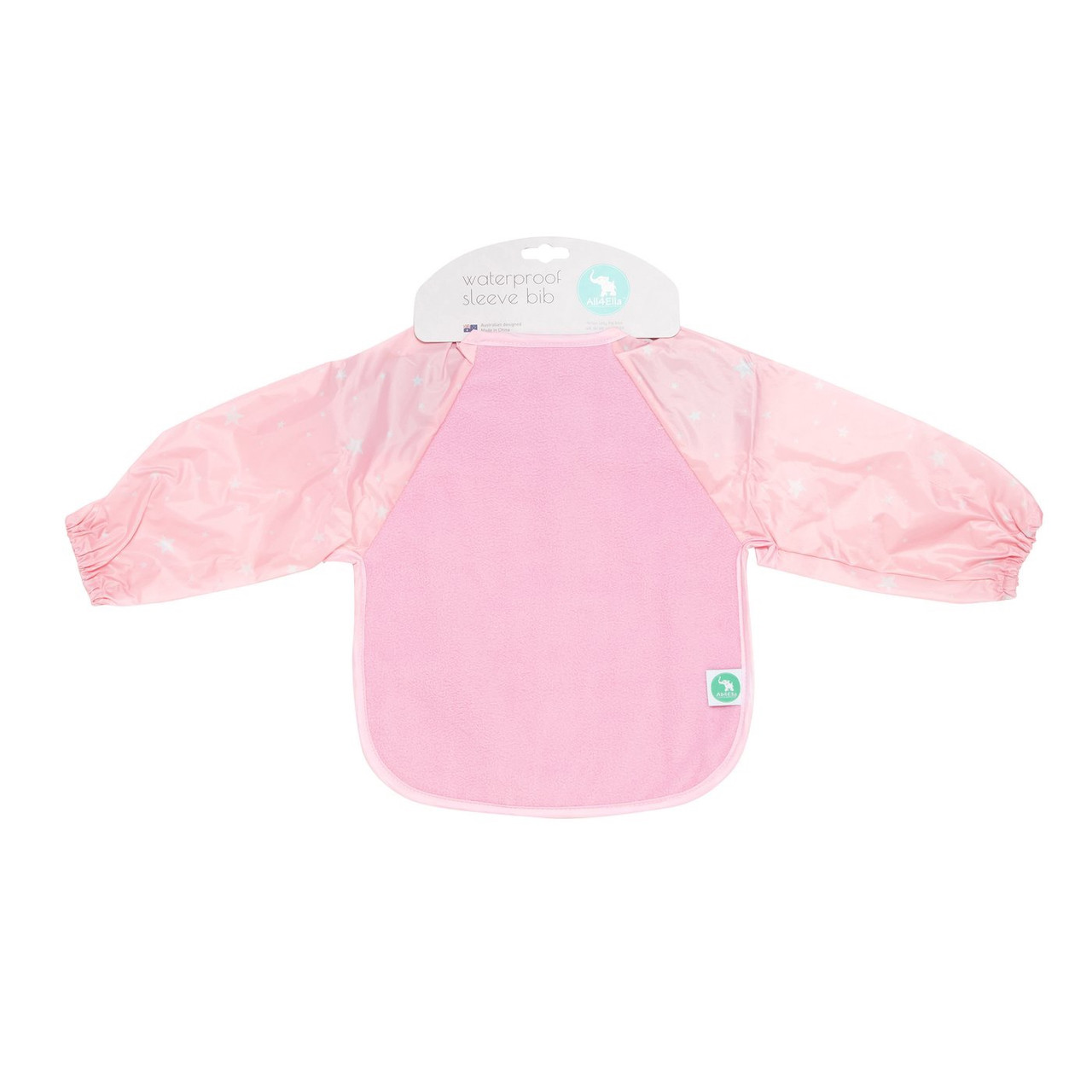 All4Ella Waterproof Long Sleeve Bib STAR PINK at Baby Barn Discounts All4Ella gorgeous bibs are not only functional but fashionable and have an adjustable neck