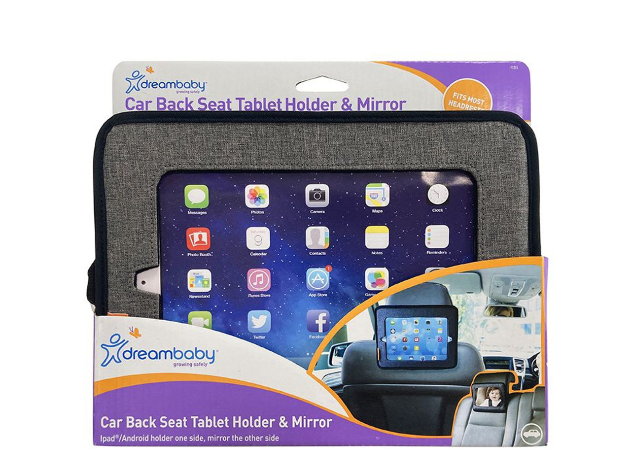 Dreambaby Car Back Seat Tablet Holder & Mirror at Baby Barn Discounts Help keep an eye on your children in the car or help keep them occupied with the Dreambaby rearward mirror & tablet holder.